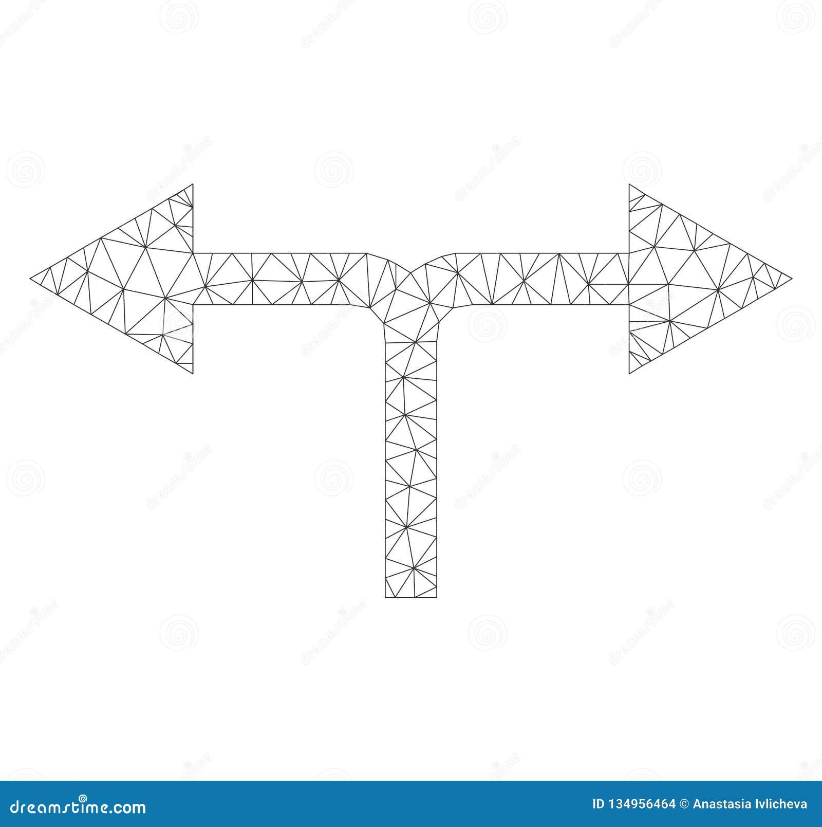 Icona di destra di Mesh Vector Bifurcation Arrows Left