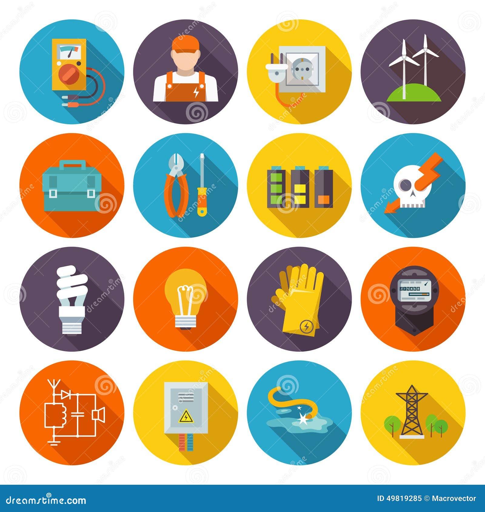 Icona di elettricità piana