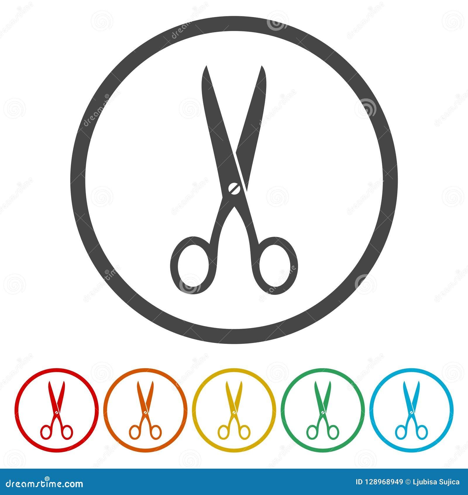 Icona di forbici con le variazioni di colore