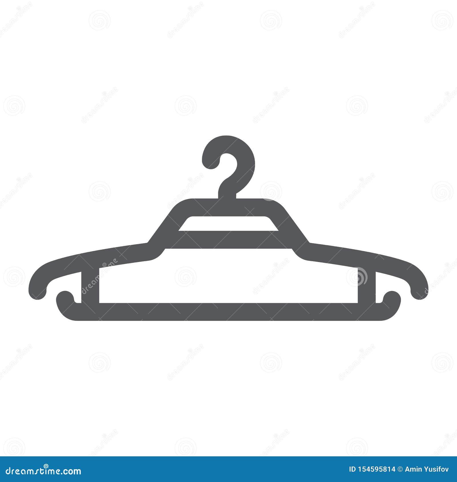 Icona di glifo del gancio, abbigliamento e guardaroba, segno della gruccia per vestiti, grafica vettoriale, un modello solido su
