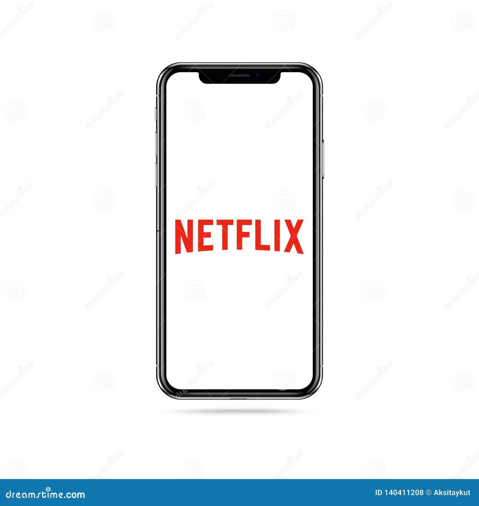 Icona di logo del app di Netflix sullo schermo di iphone