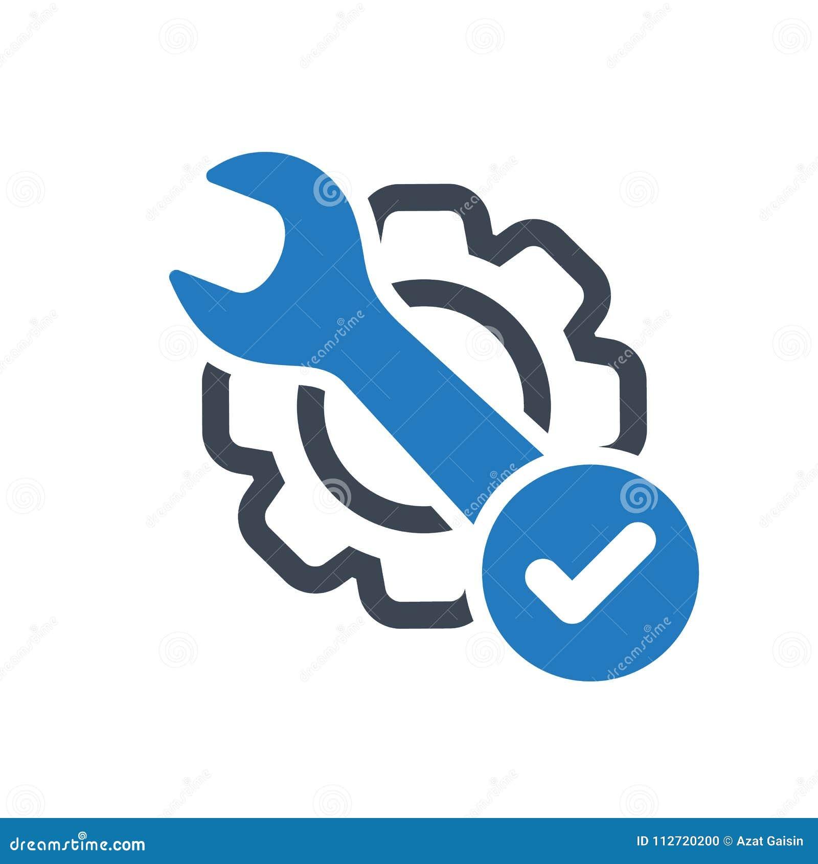 Icona di manutenzione con il segno del controllo L icona di manutenzione ed approvato, conferma, fatto, segno di spunta, simbolo