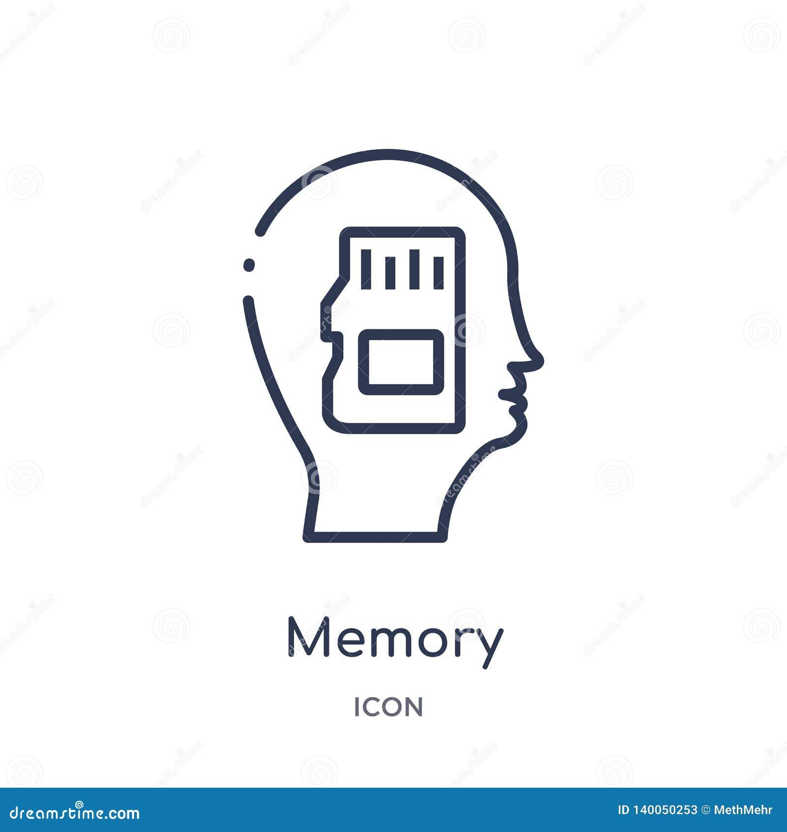 Icona di memoria lineare dalla raccolta del profilo di processo del cervello Linea sottile vettore di memoria isolato su fondo bi