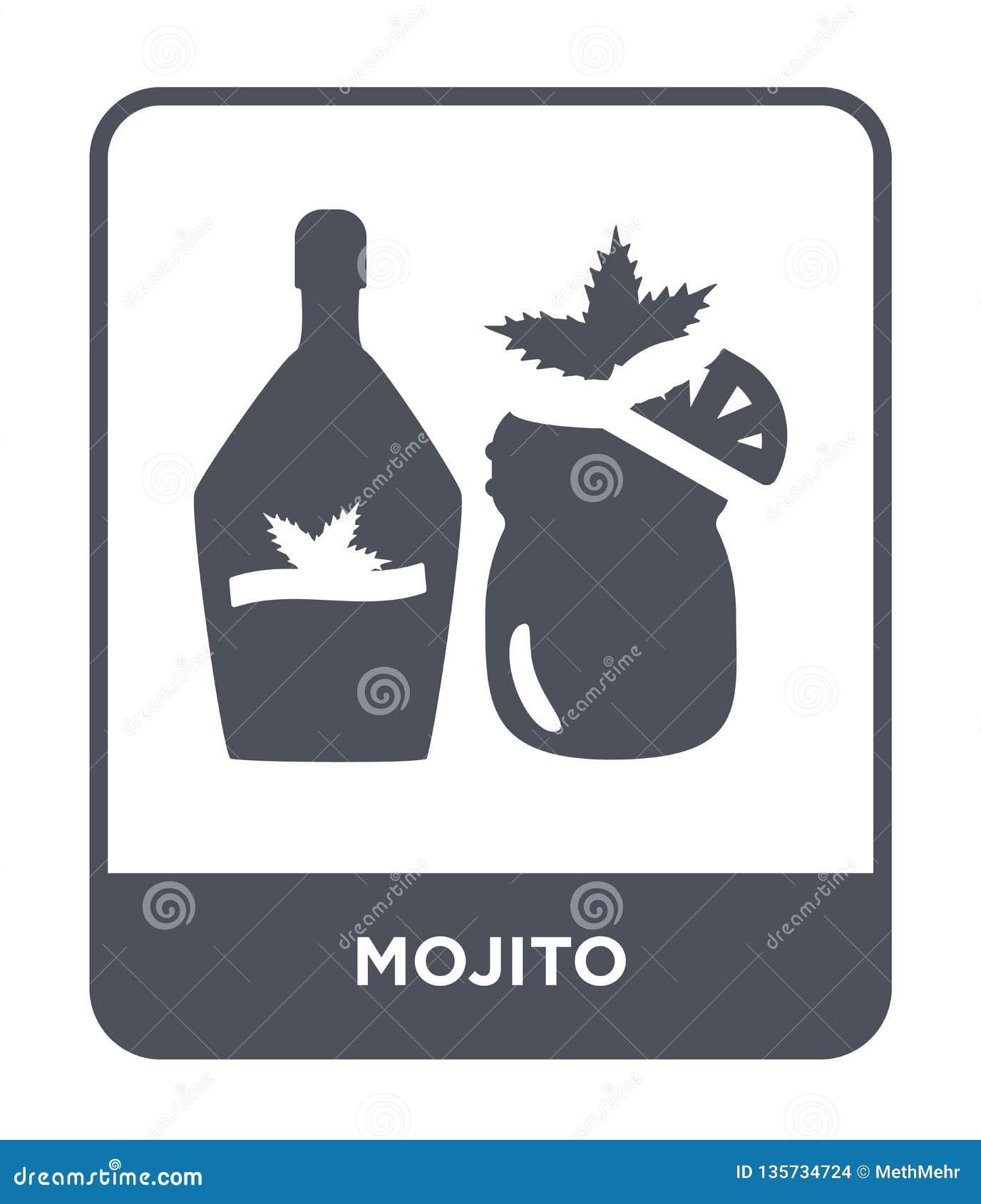 Icona di mojito nello stile d avanguardia di progettazione icona di mojito isolata su fondo bianco simbolo piano semplice e moder