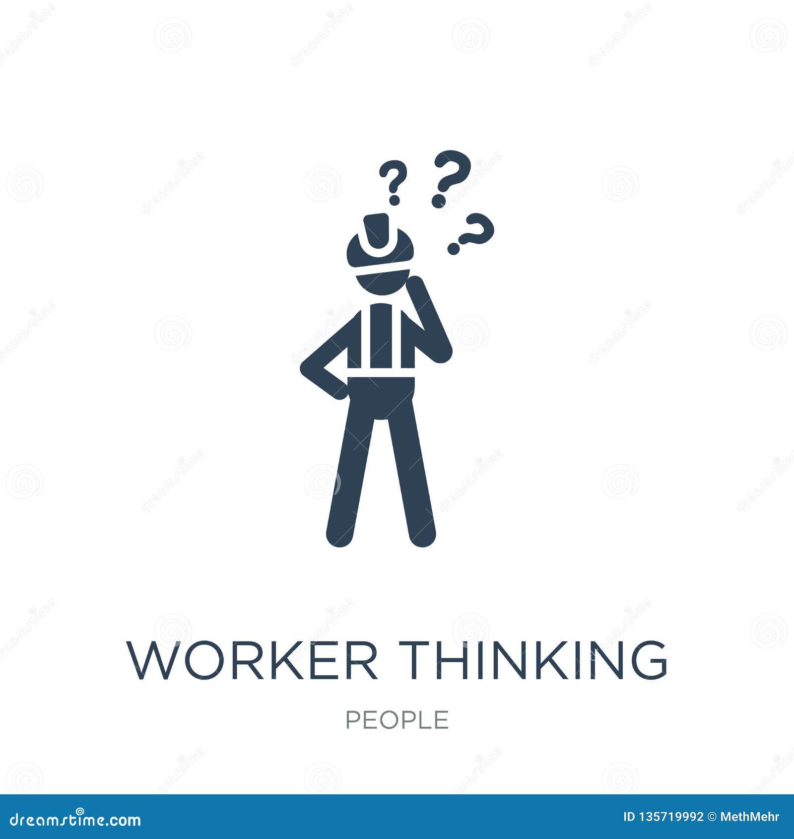 Icona di pensiero del lavoratore nello stile d avanguardia di progettazione icona di pensiero del lavoratore isolata su fondo bia