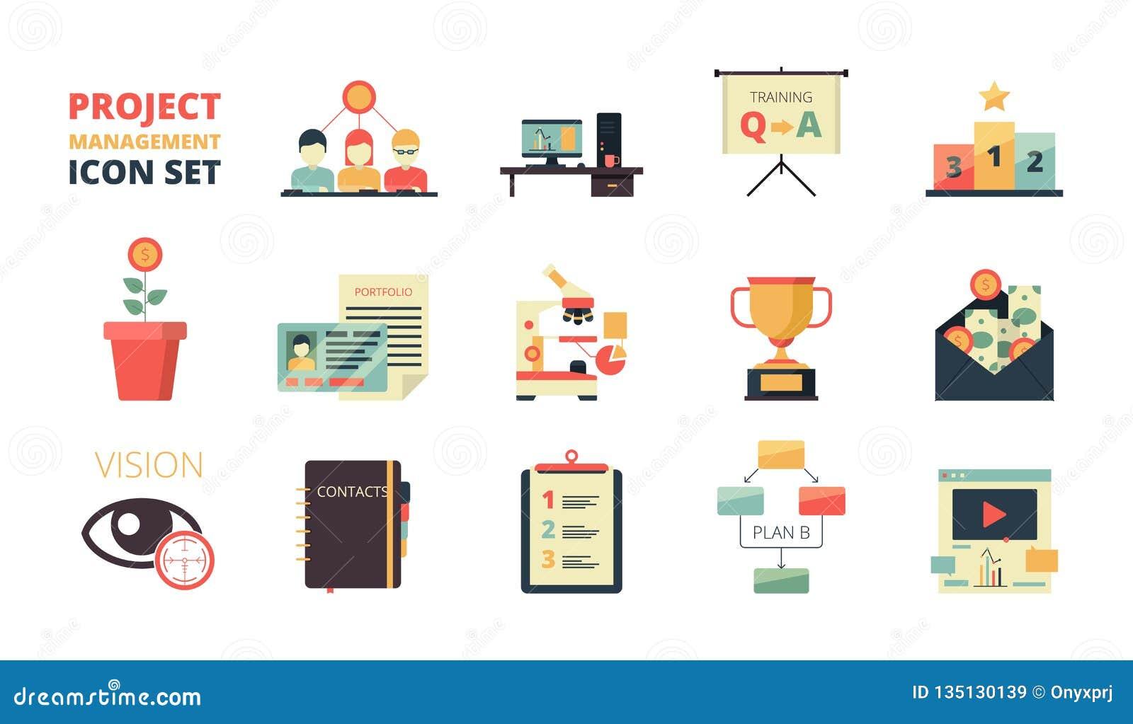 Icona di pianificazione di progetto La gestione di strategia aziendale elabora il sistema del crm del cruscotto dello sviluppo di