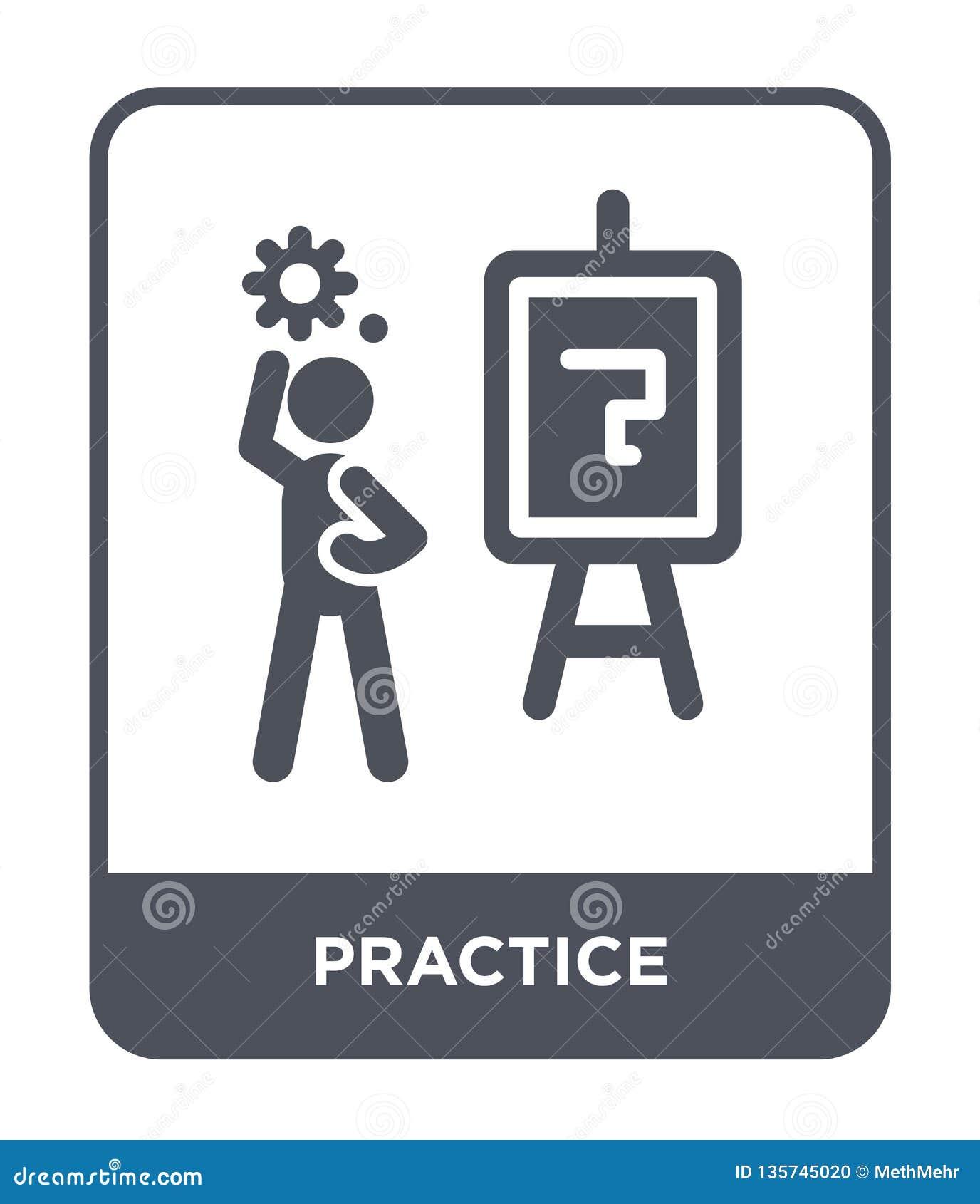 Icona di pratica nello stile d avanguardia di progettazione icona di pratica isolata su fondo bianco piano semplice e moderno del