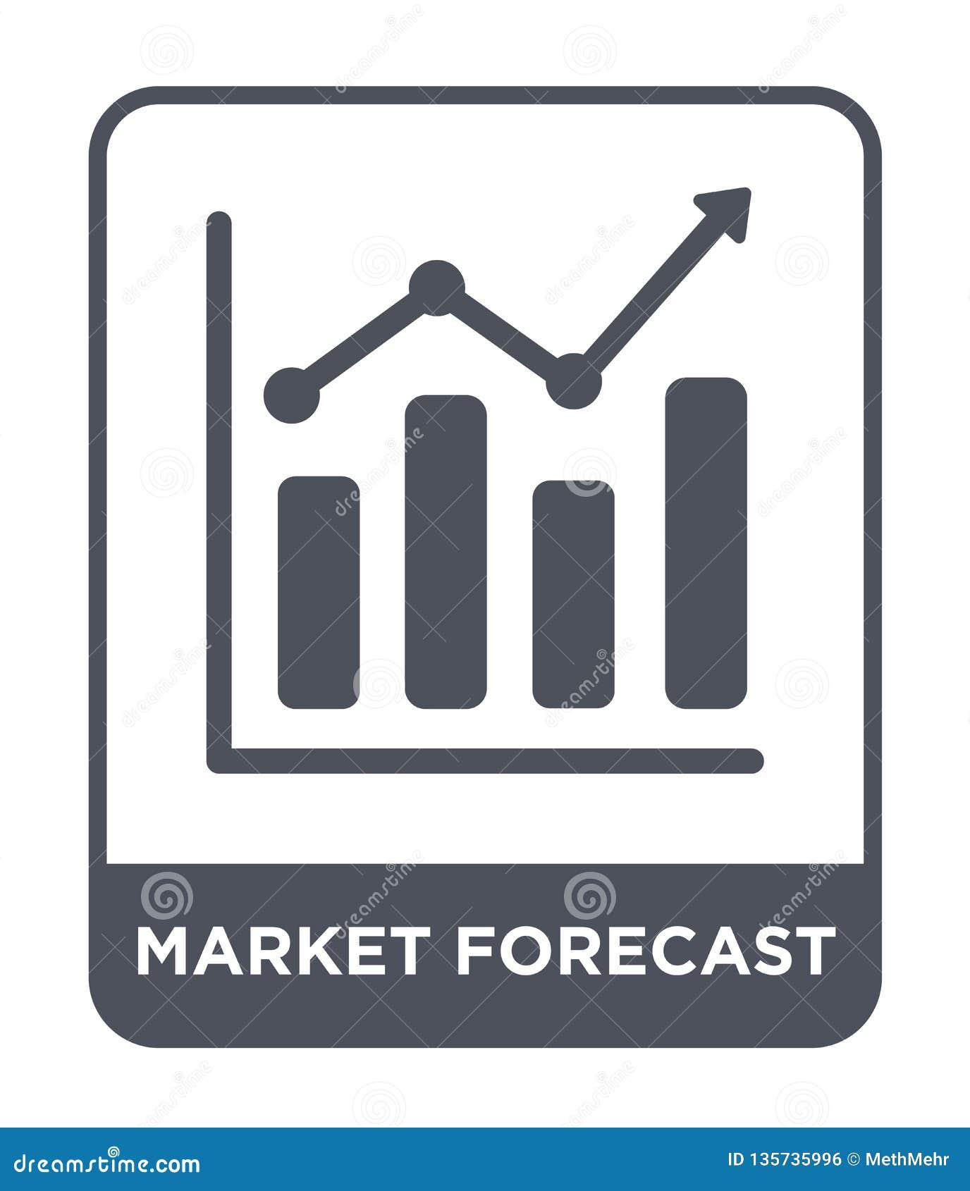 Icona di previsione del mercato nello stile d avanguardia di progettazione icona di previsione del mercato isolata su fondo bianc