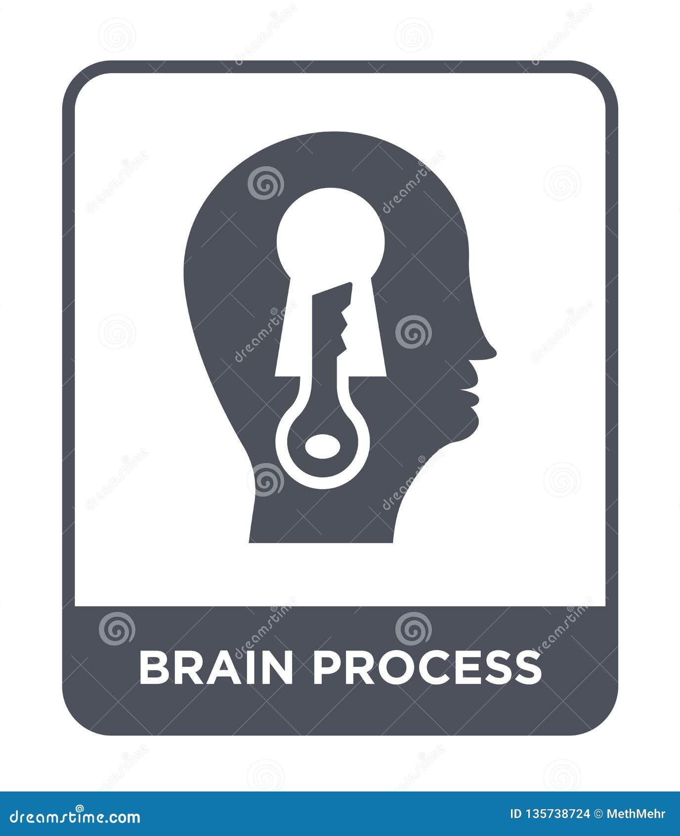 Icona di processo del cervello nello stile d avanguardia di progettazione icona di processo del cervello isolata su fondo bianco
