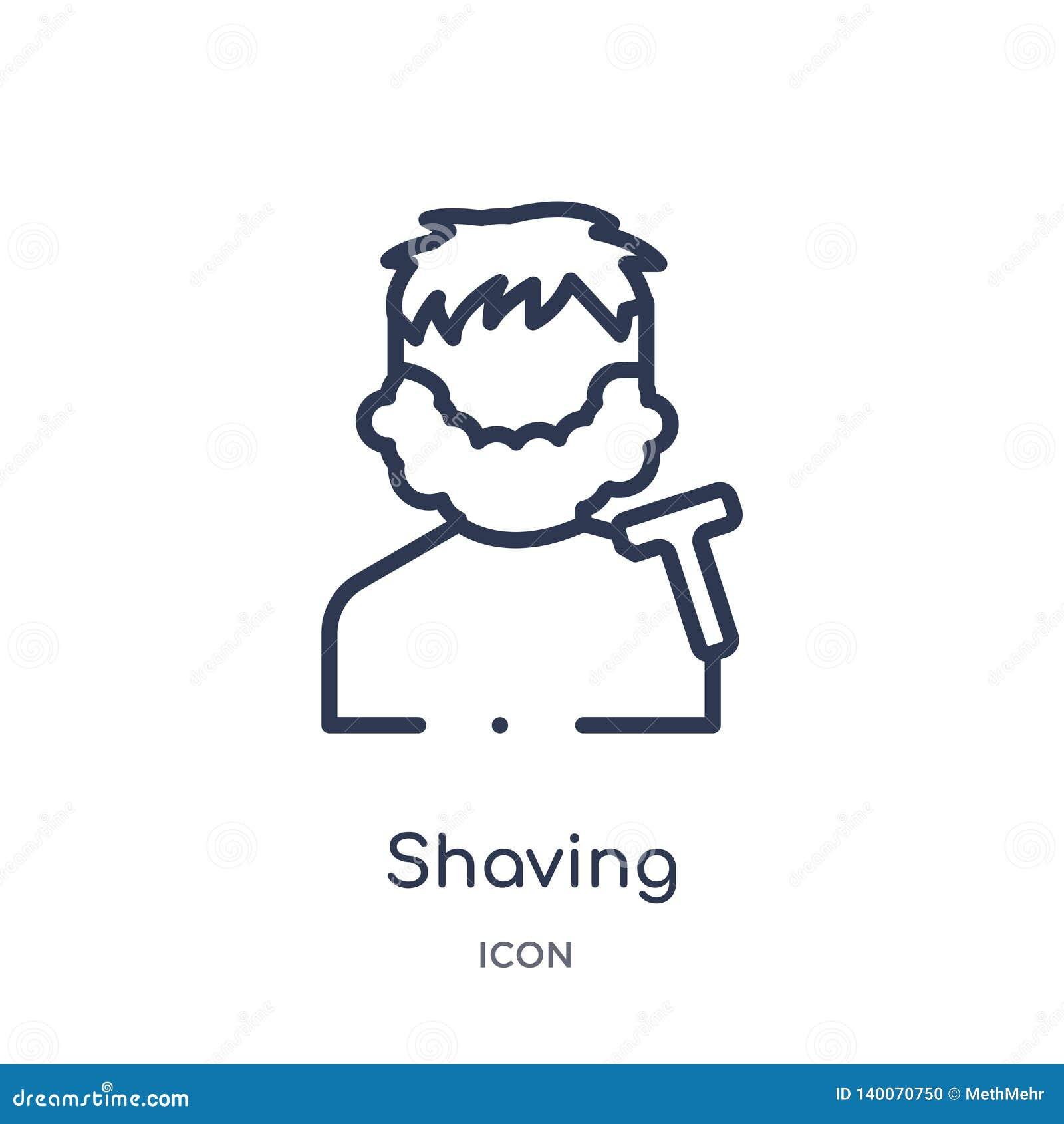 Icona di rasatura lineare dalla raccolta del profilo di bellezza Linea sottile che rade icona isolata su fondo bianco rasatura d