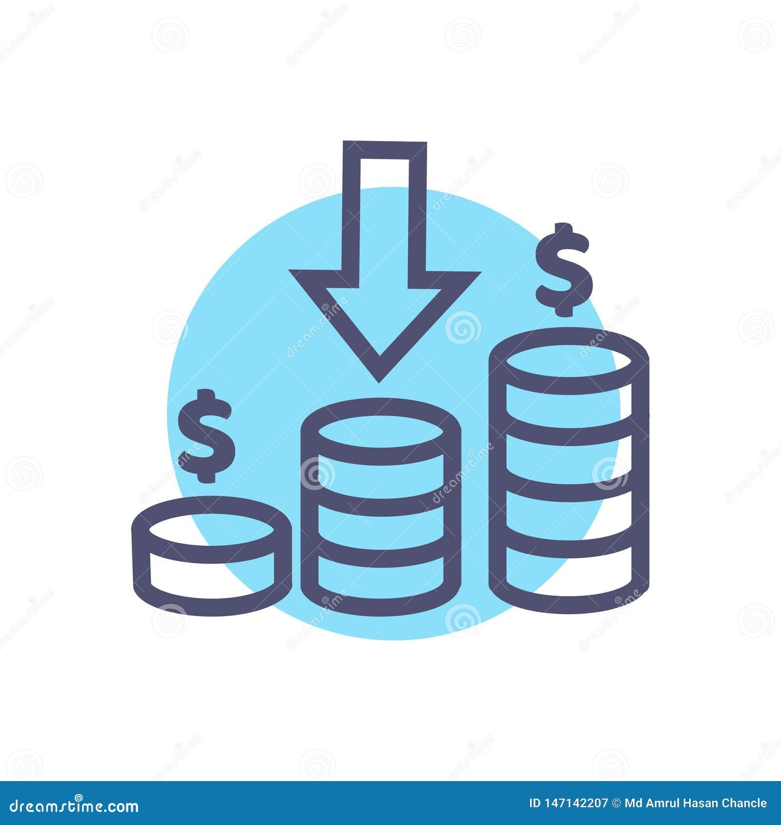 Icona di reddito simbolo del segno di reddito di vettore con il dollaro della moneta ed il vettore del segno della freccia