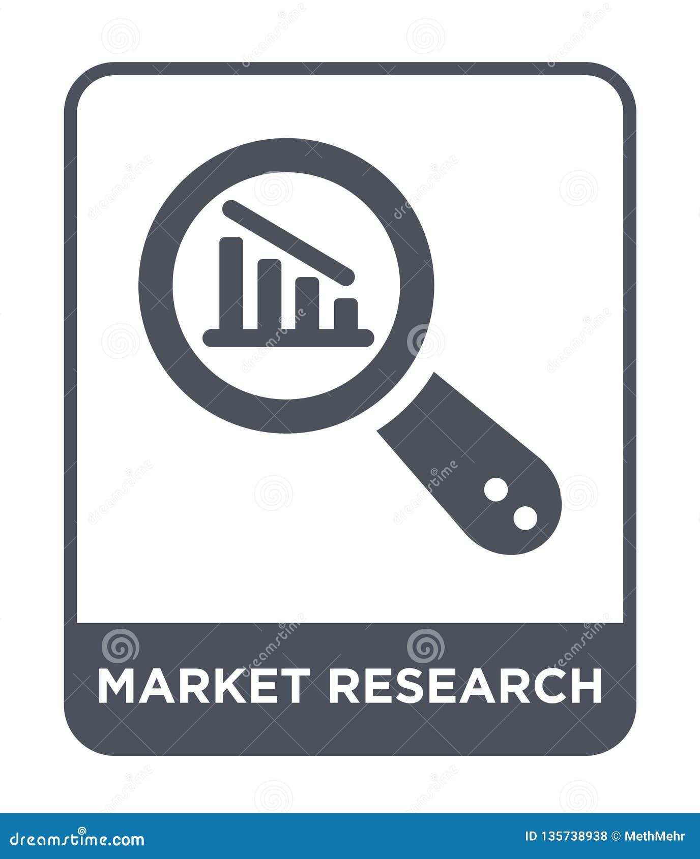 Icona di ricerca di mercato nello stile d avanguardia di progettazione icona di ricerca di mercato isolata su fondo bianco icona