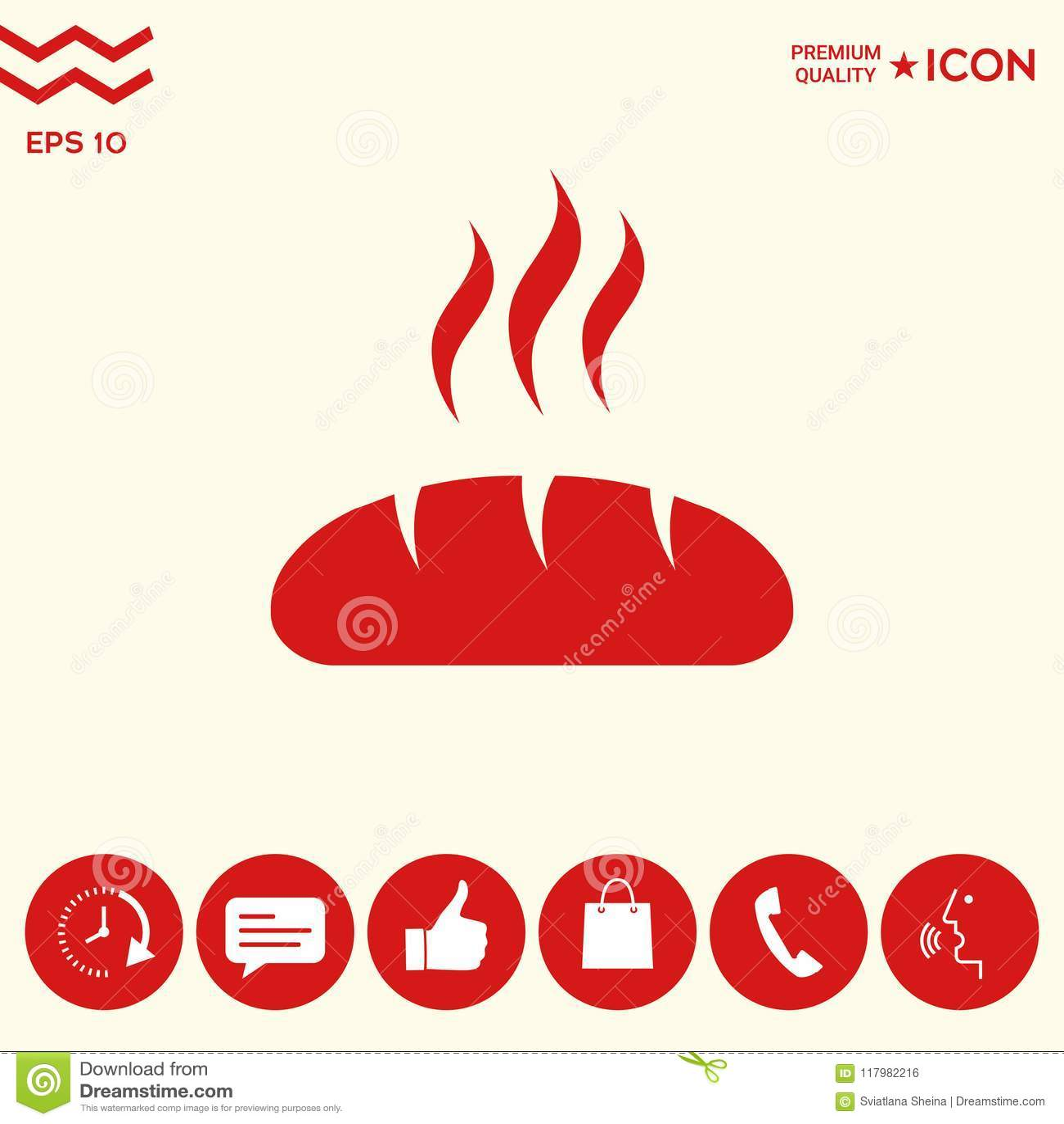 Download Icona di simbolo del pane illustrazione vettoriale. Illustrazione di icona - 117982216
