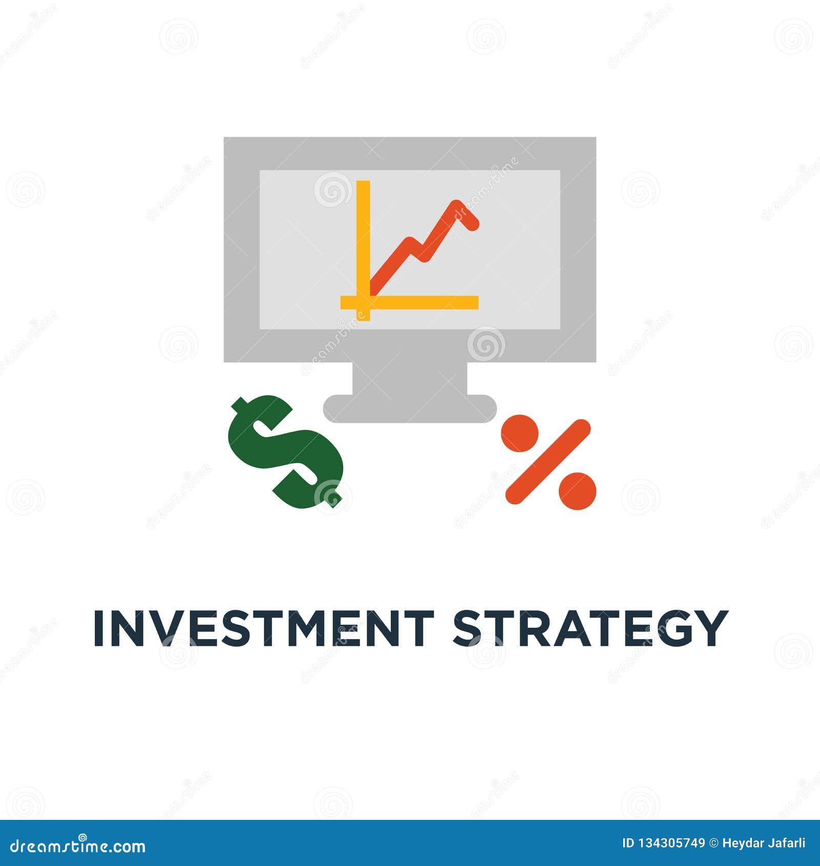 Icona di strategia di investimento analisi finanziaria, tasso di interesse, crescita capitale, rassegna di dati su progettazione