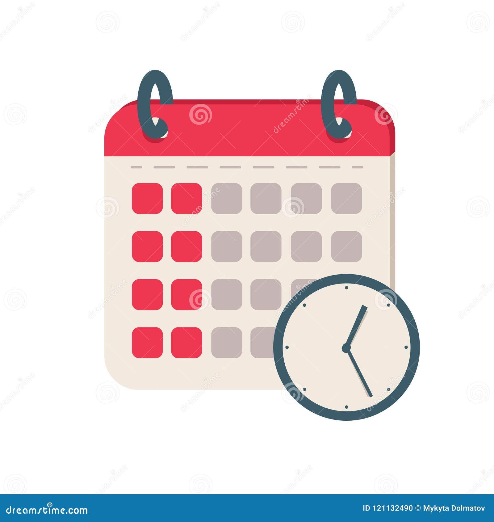 Calendario Icona.Icona Di Tempo Del Calendario Icona Piana Di Vettore Dell