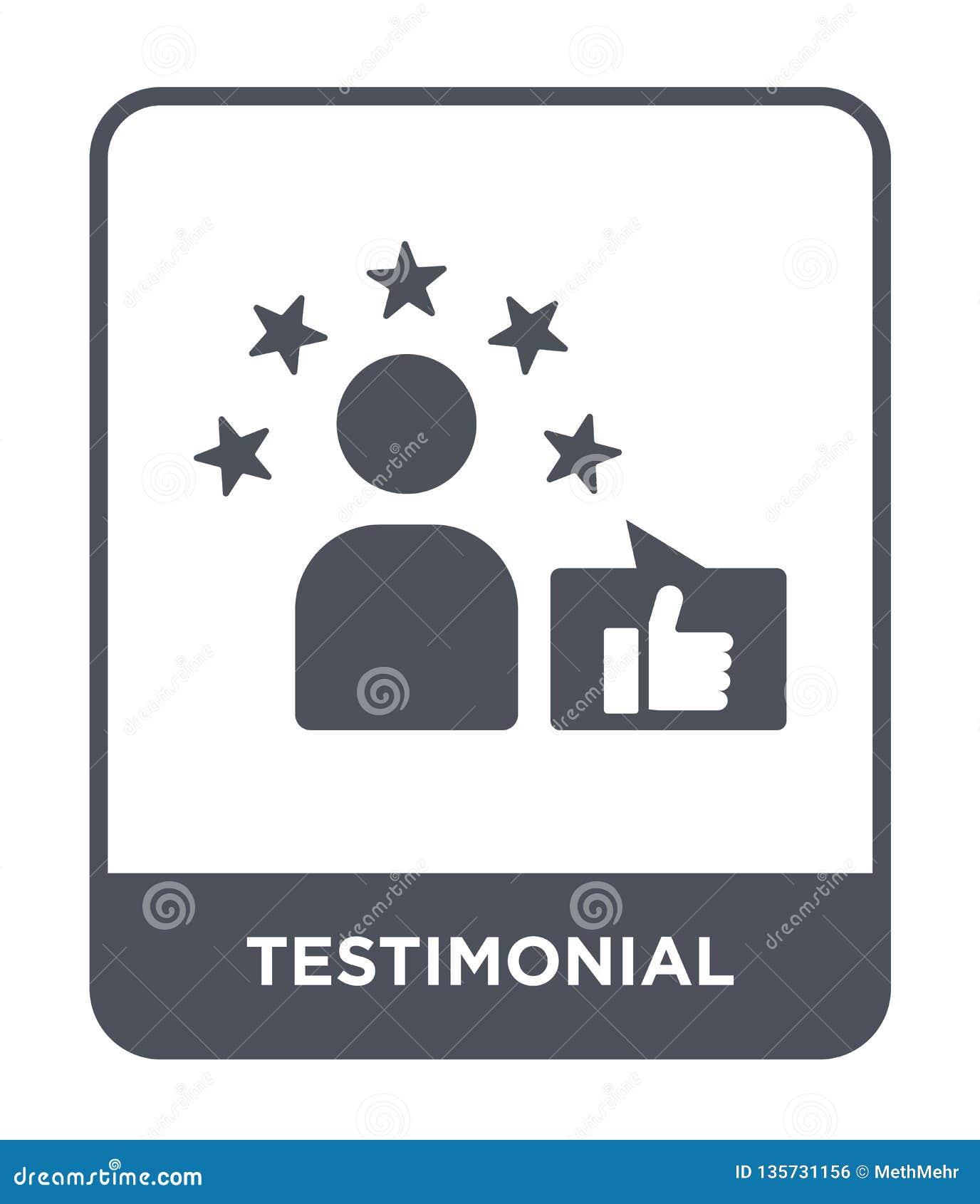Icona di testimonianza nello stile d avanguardia di progettazione icona di testimonianza isolata su fondo bianco icona di vettore