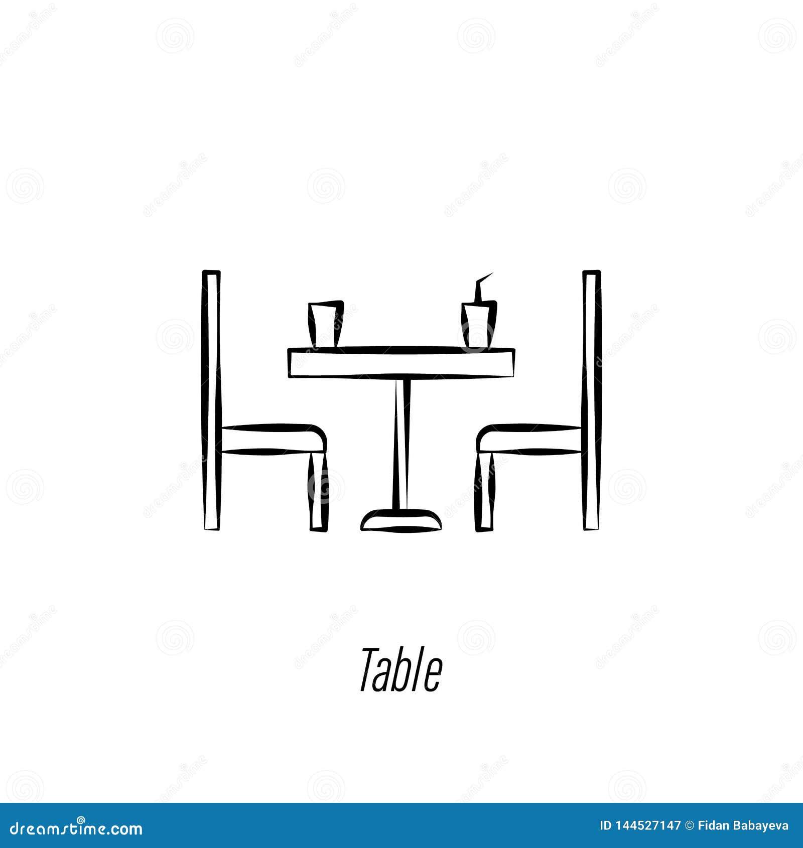 Icona di tiraggio della mano del tavolino da salotto Elemento dell icona dell illustrazione del caff? I segni ed i simboli posson