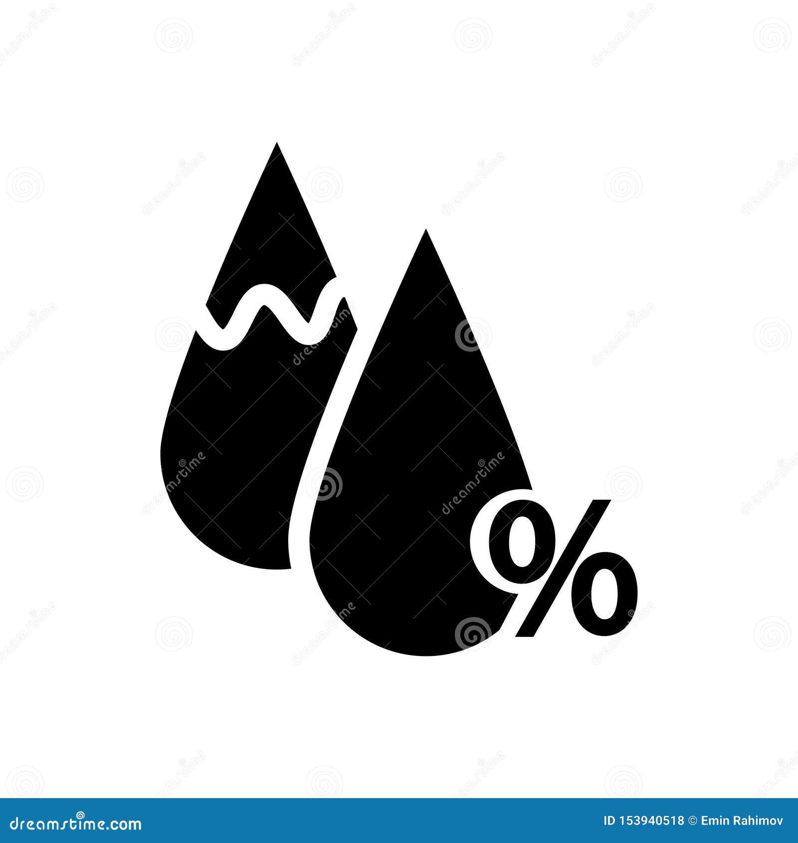 Icona di umidit? Segno di percentuali e del calo