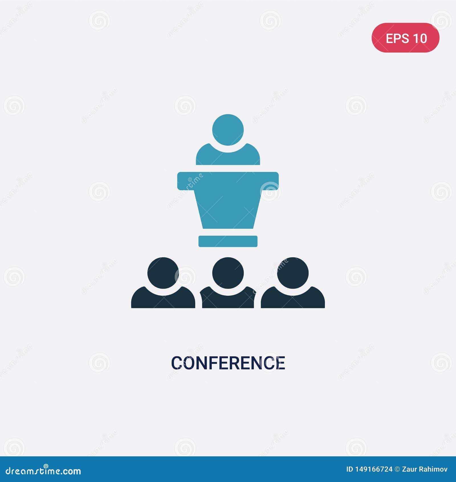 Icona di vettore di conferenza di due colori dal concetto di strategia il simbolo blu isolato del segno di vettore di conferenza