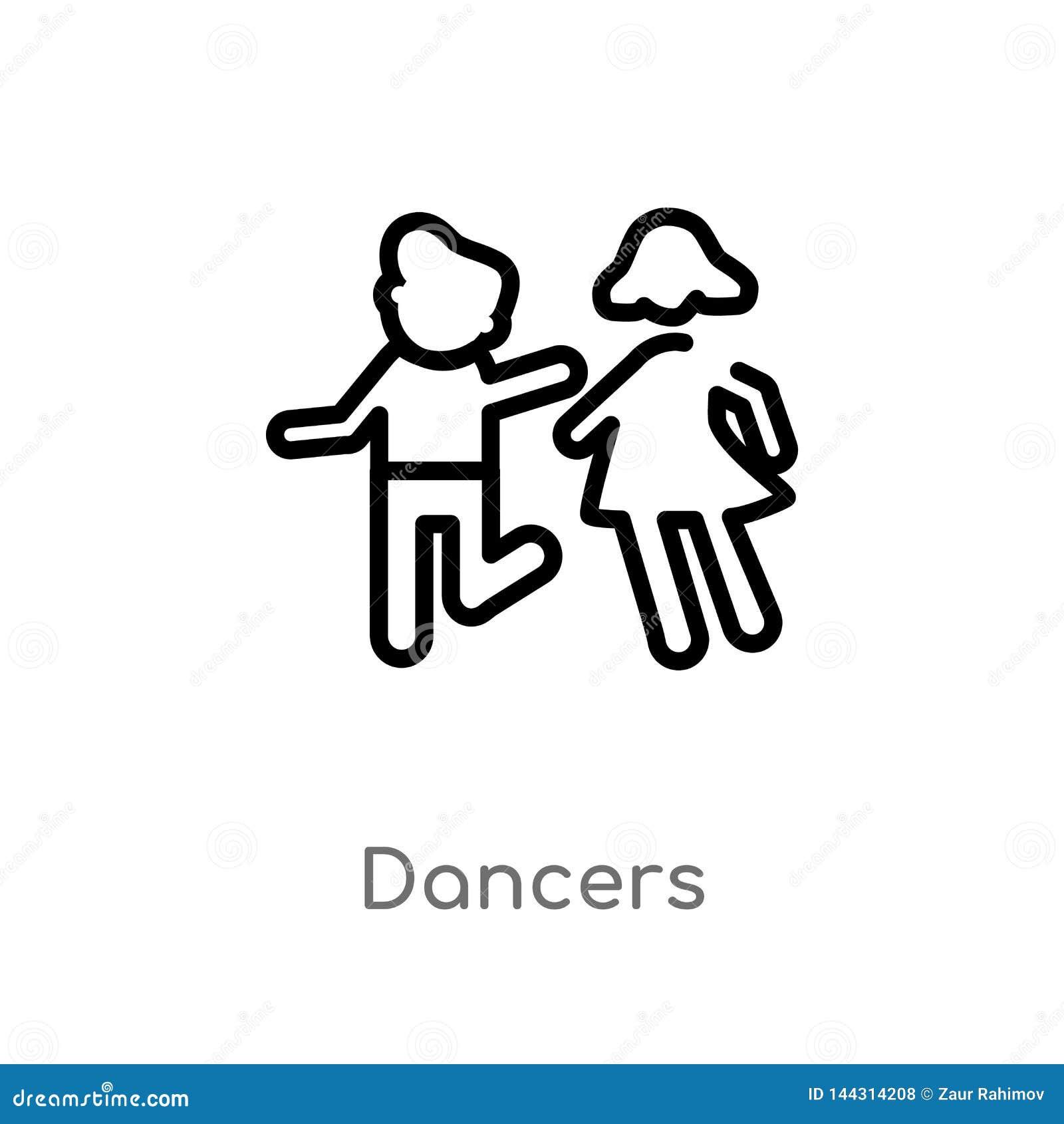Icona di vettore dei ballerini del profilo linea semplice nera isolata illustrazione dell elemento dal concetto della gente balle