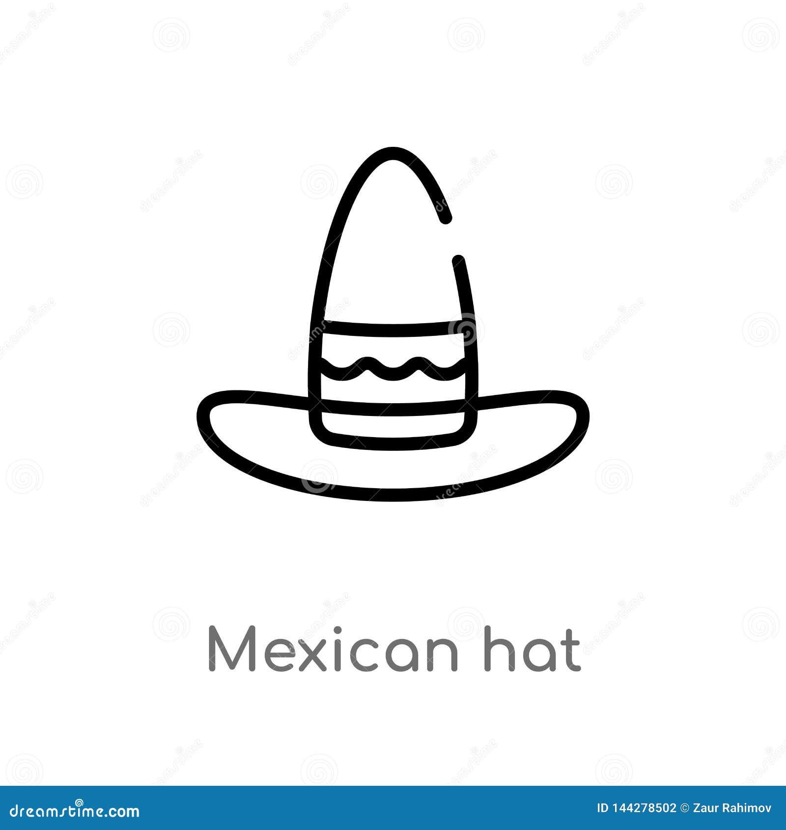 Icona di vettore del cappello messicano del profilo linea semplice nera isolata illustrazione dell elemento dal concetto del dese