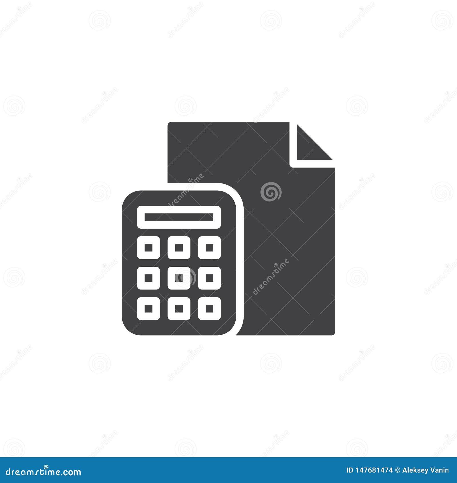 Icona di vettore del documento cartaceo e del calcolatore