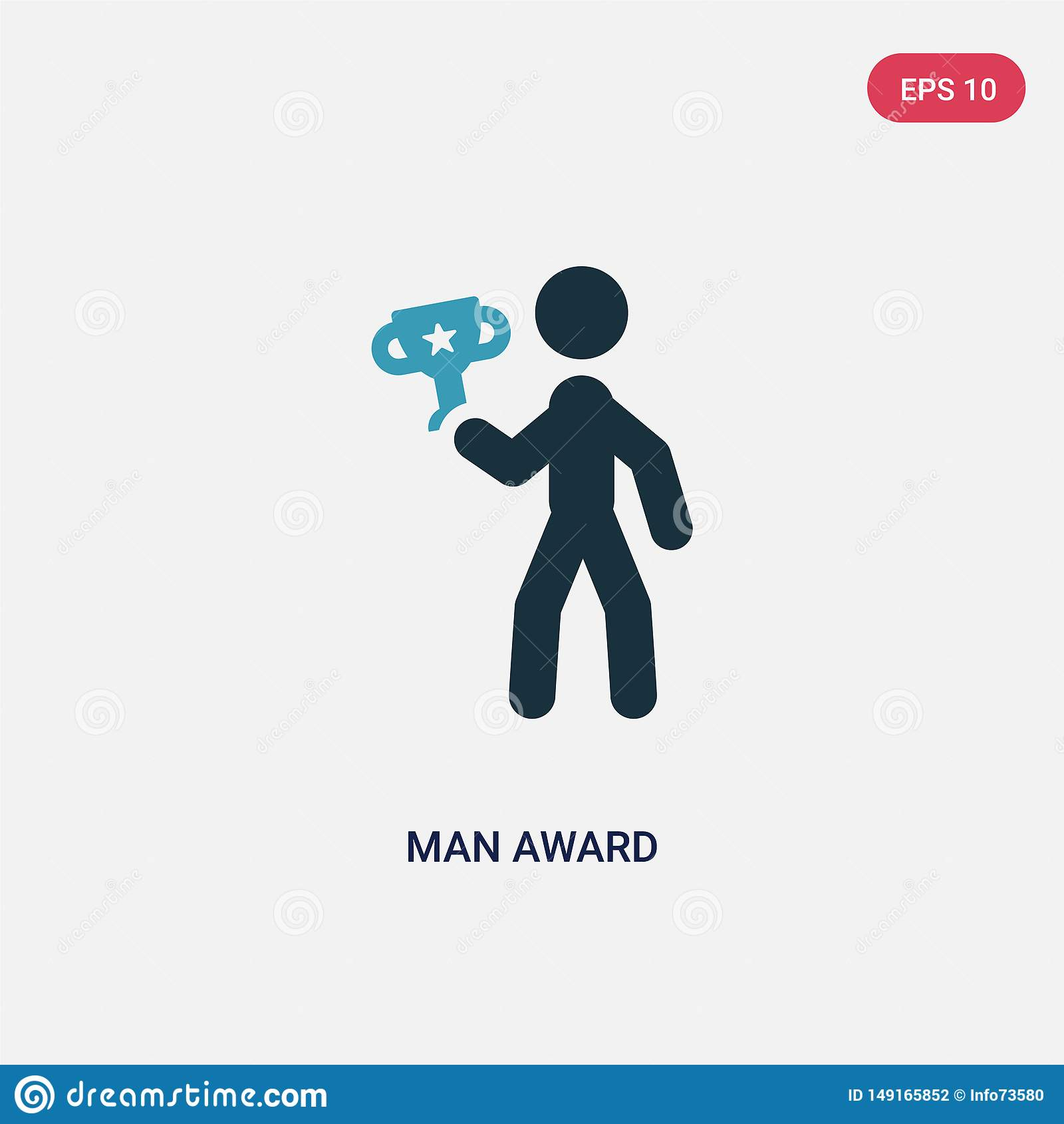 Icona di vettore del premio dell uomo di colore due dal concetto di sport il simbolo blu isolato del segno di vettore del premio