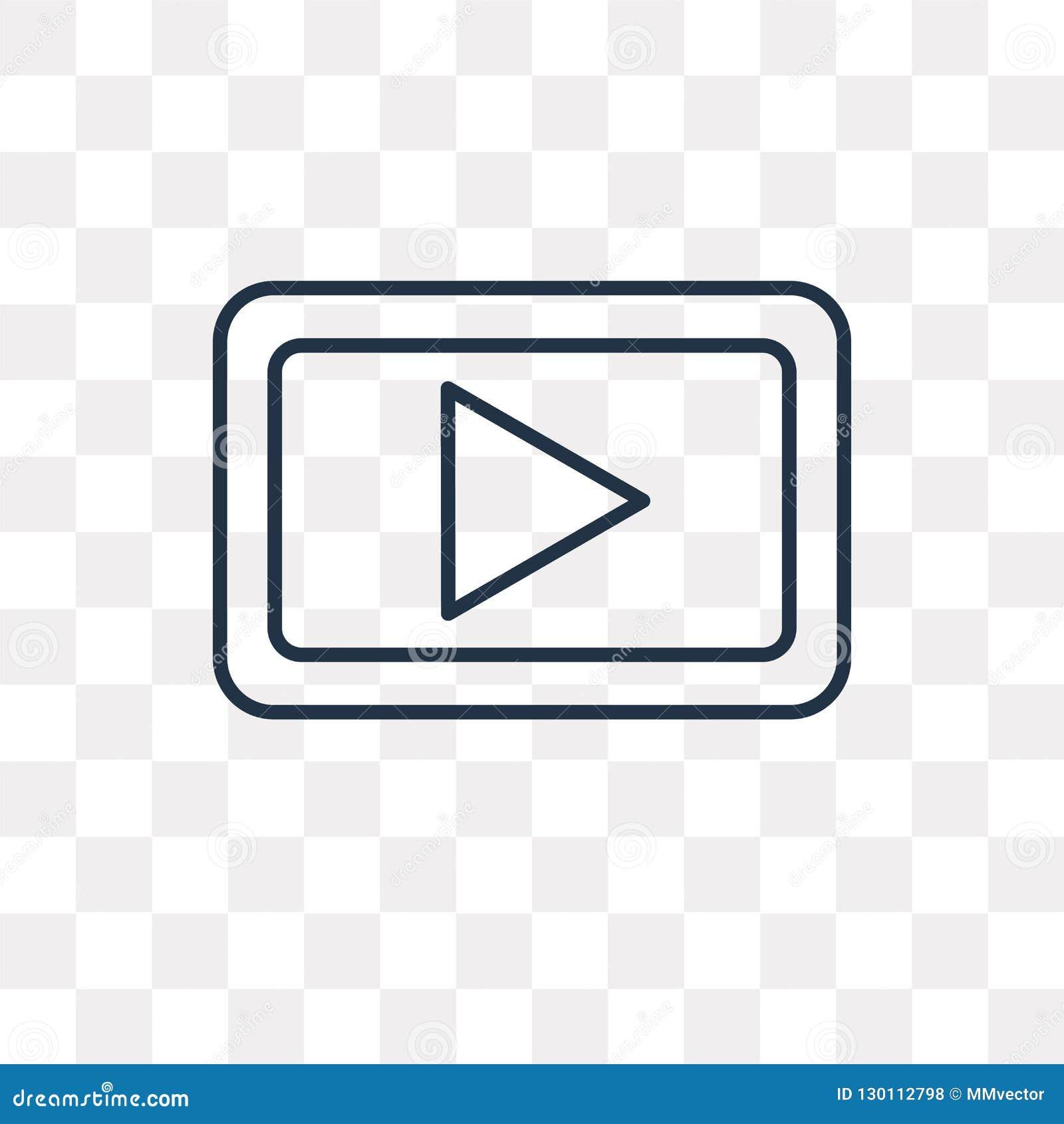 Icona di vettore del tasto di riproduzione isolata su fondo trasparente, linea
