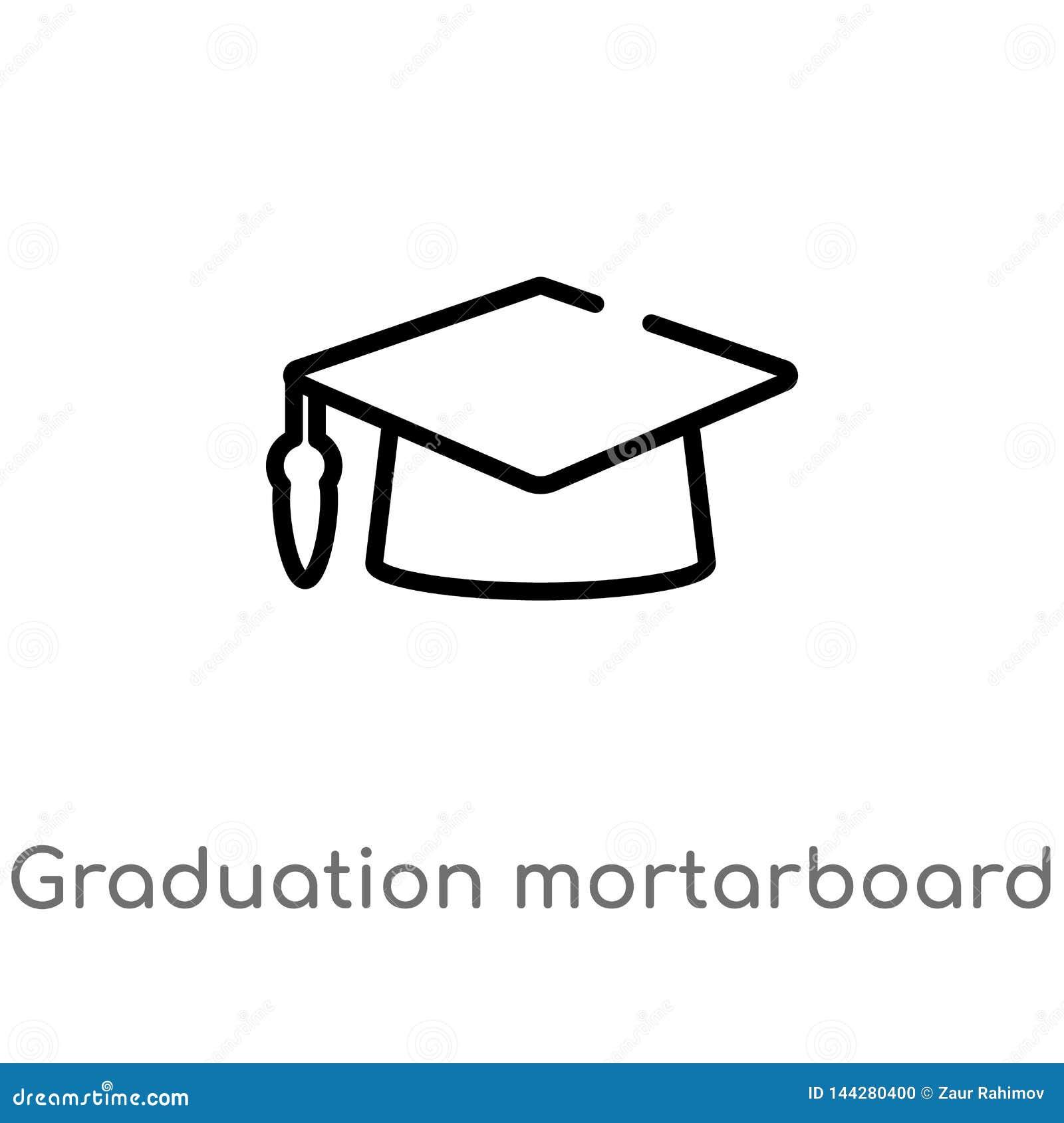 Icona di vettore del tocco di graduazione del profilo linea semplice nera isolata illustrazione dell elemento dal concetto di ist