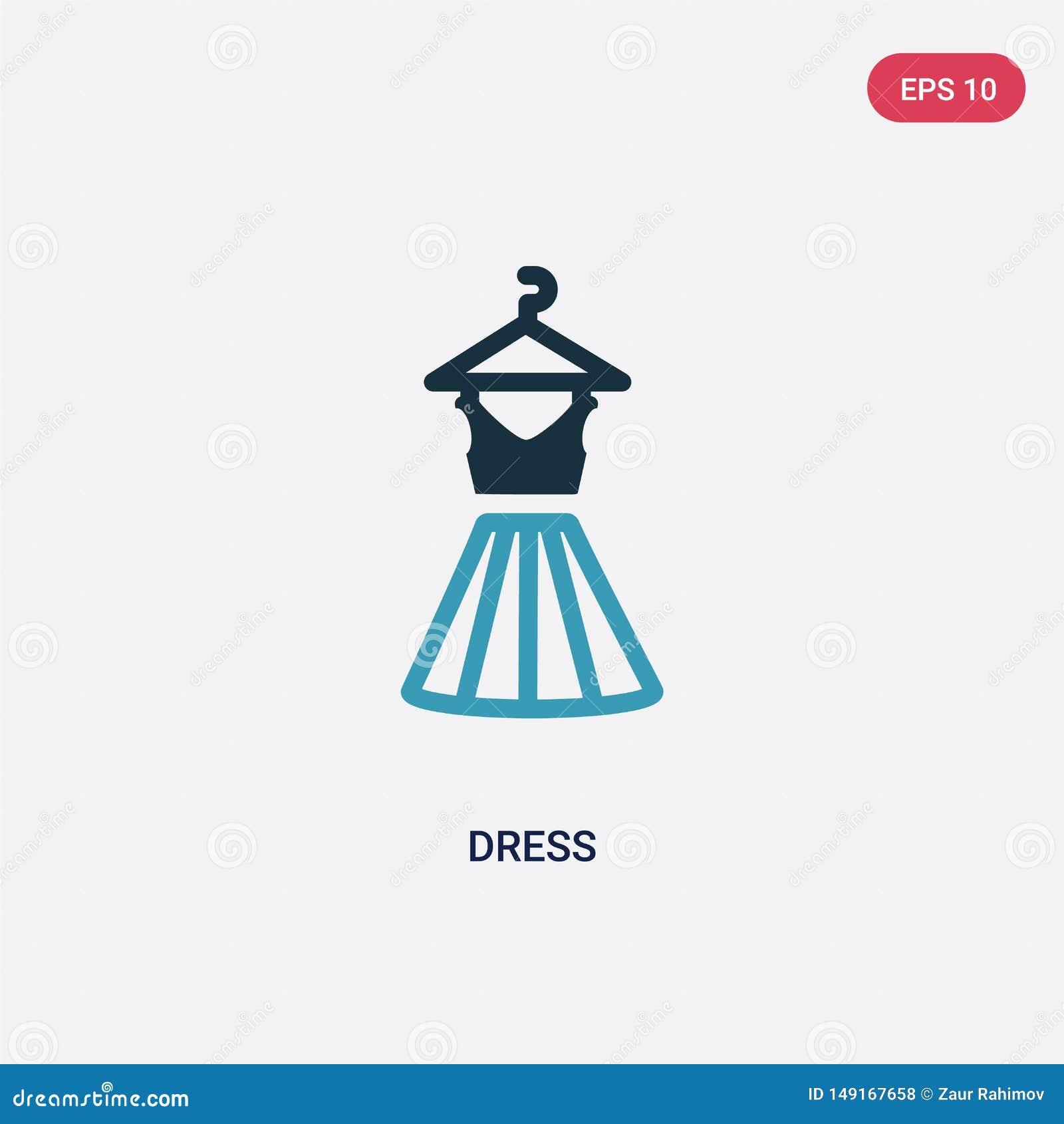 Icona di vettore del vestito da due colori dal concetto di estate il simbolo blu isolato del segno di vettore del vestito pu? ess