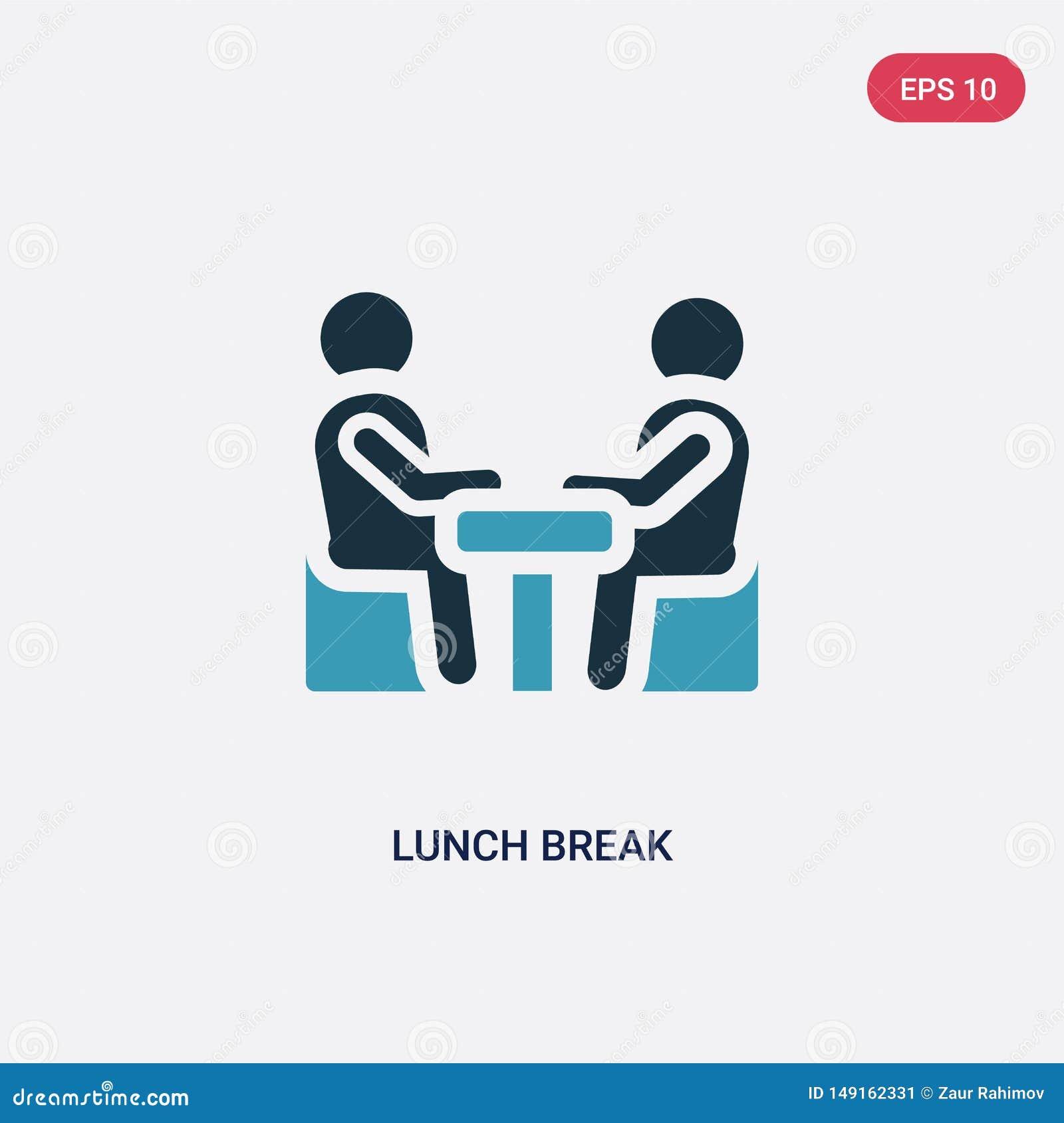Icona di vettore dell intervallo di pranzo di due colori dal concetto della gente il simbolo blu isolato del segno di vettore del