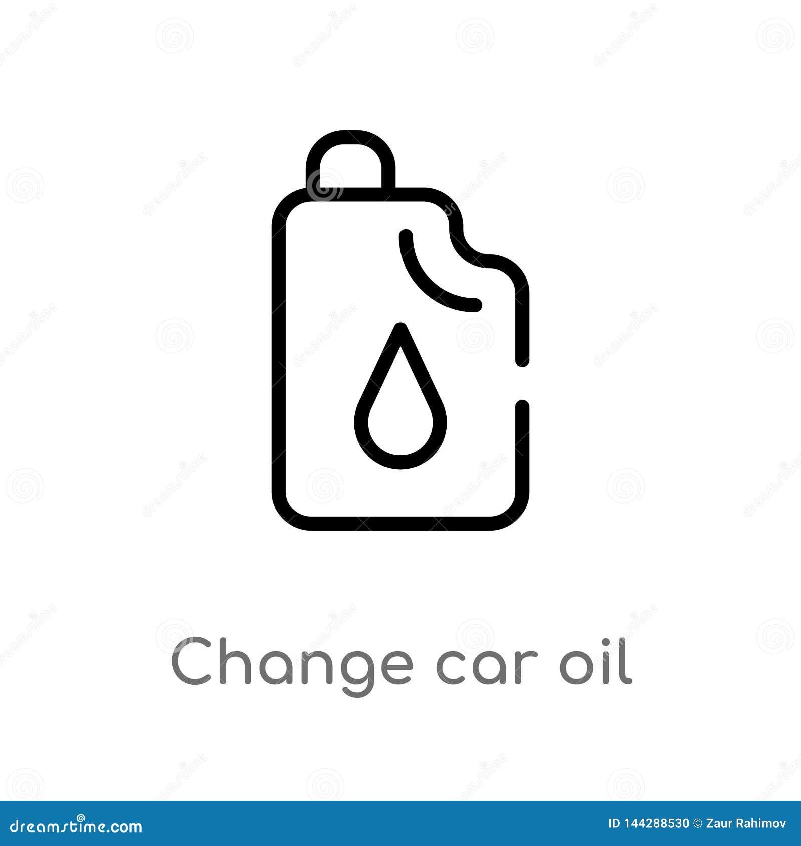 Icona di vettore dell olio dell automobile del cambiamento del profilo linea semplice nera isolata illustrazione dell elemento da