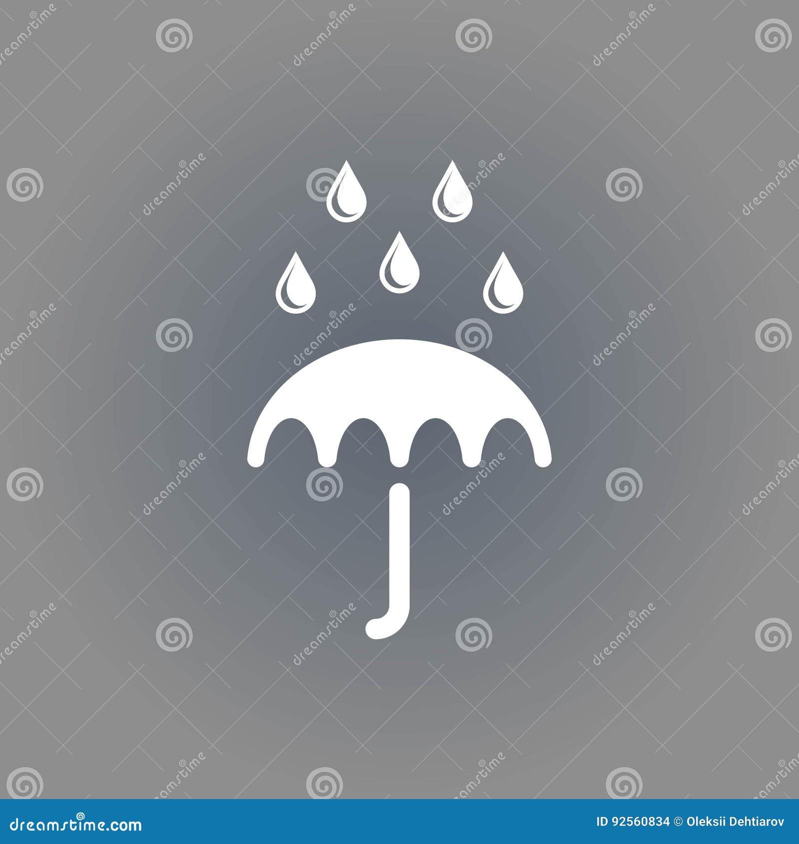 Icona di vettore dell ombrello Simbolo di protezione di pioggia Stile piano di progettazione