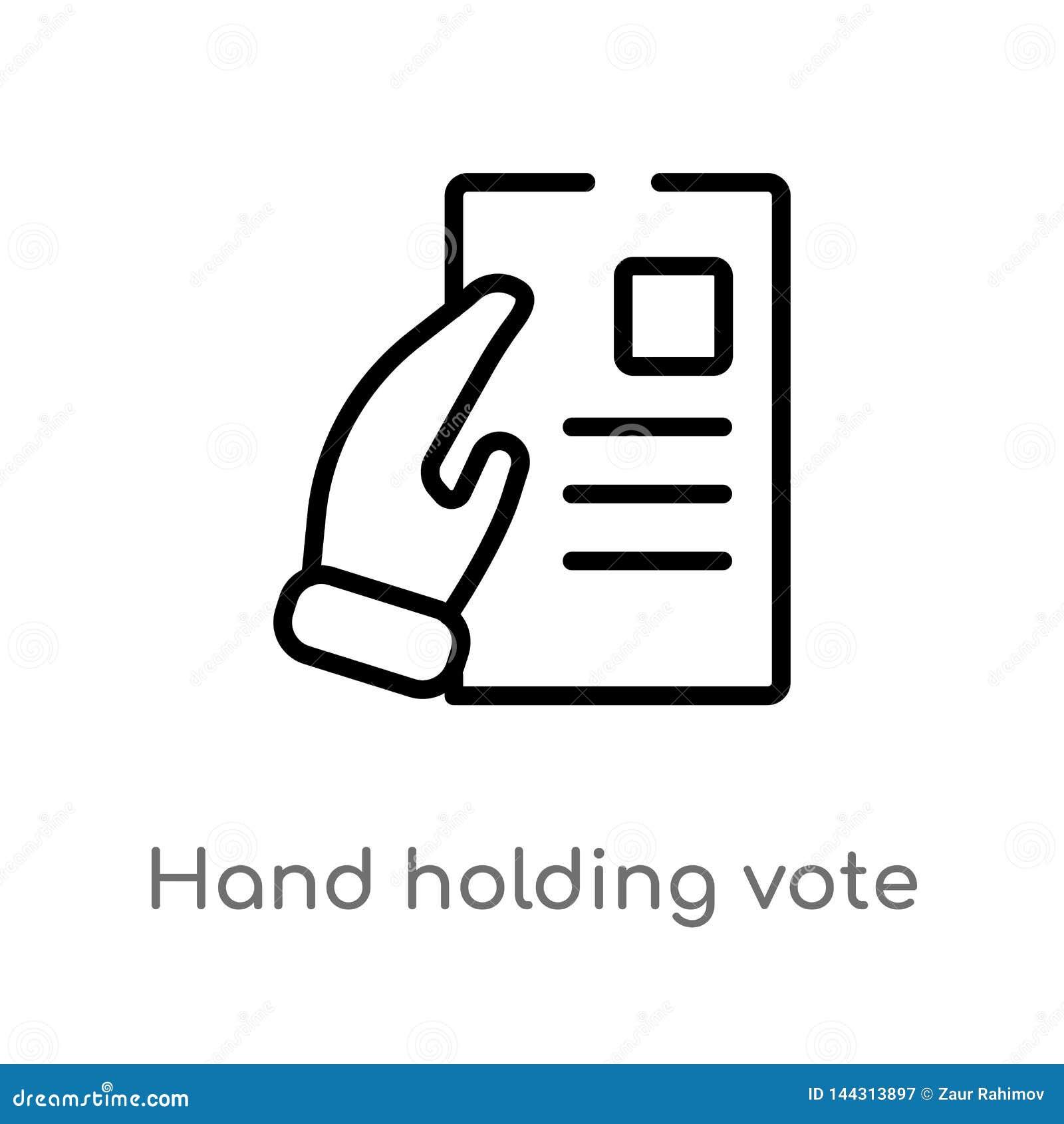 Icona di vettore della carta di voto della tenuta della mano del profilo linea semplice nera isolata illustrazione dell elemento