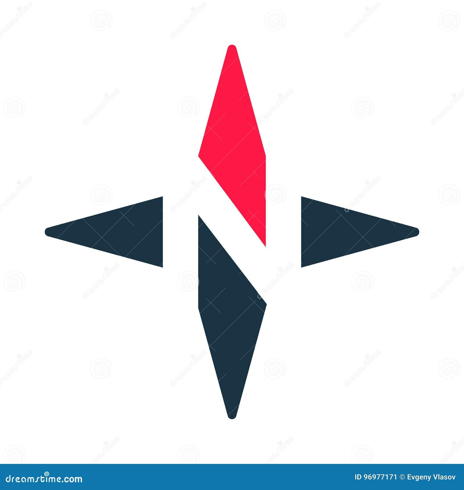 Icona di vettore della freccia della bussola Logotype di N