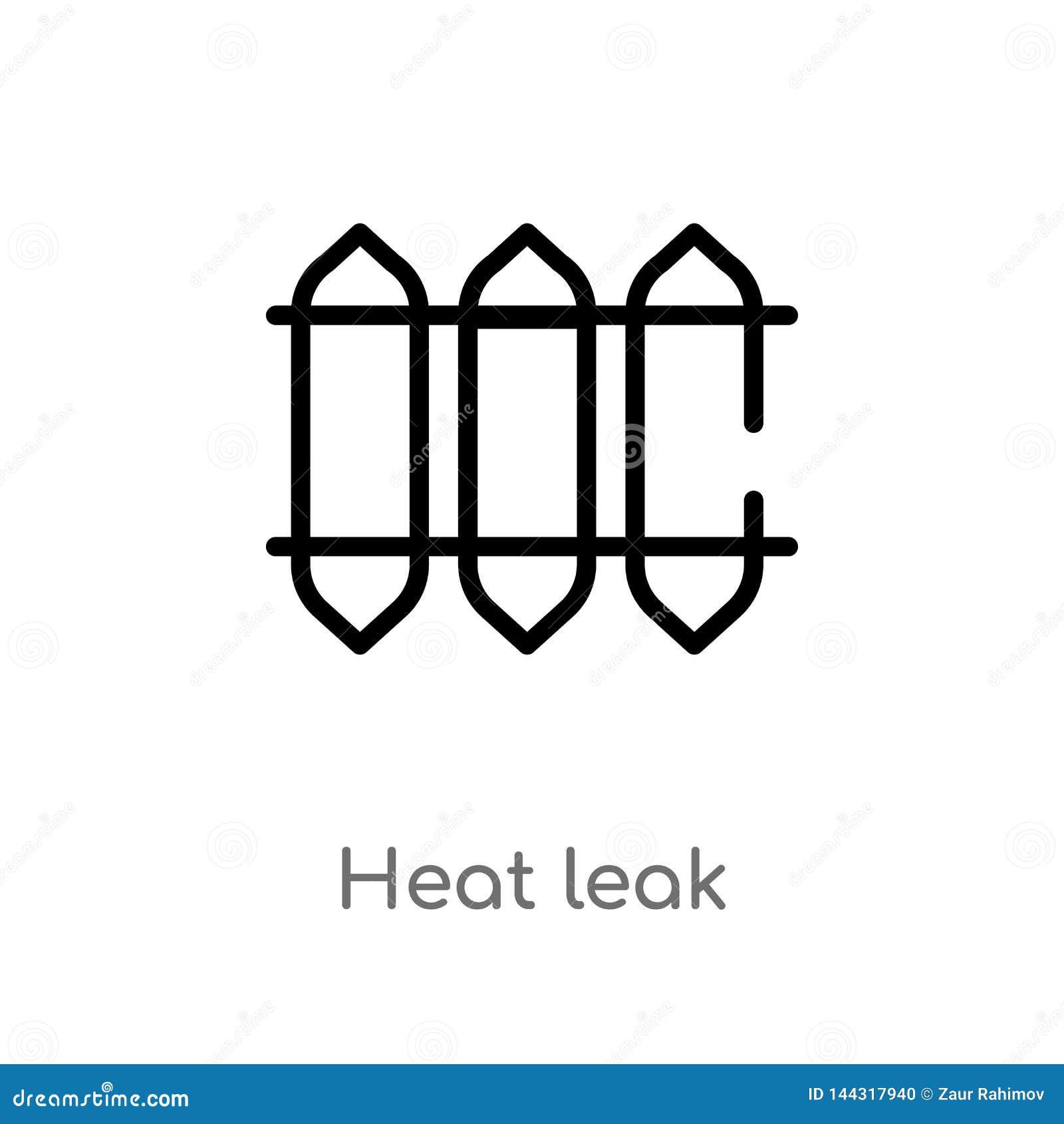 Icona di vettore della perdita di calore del profilo