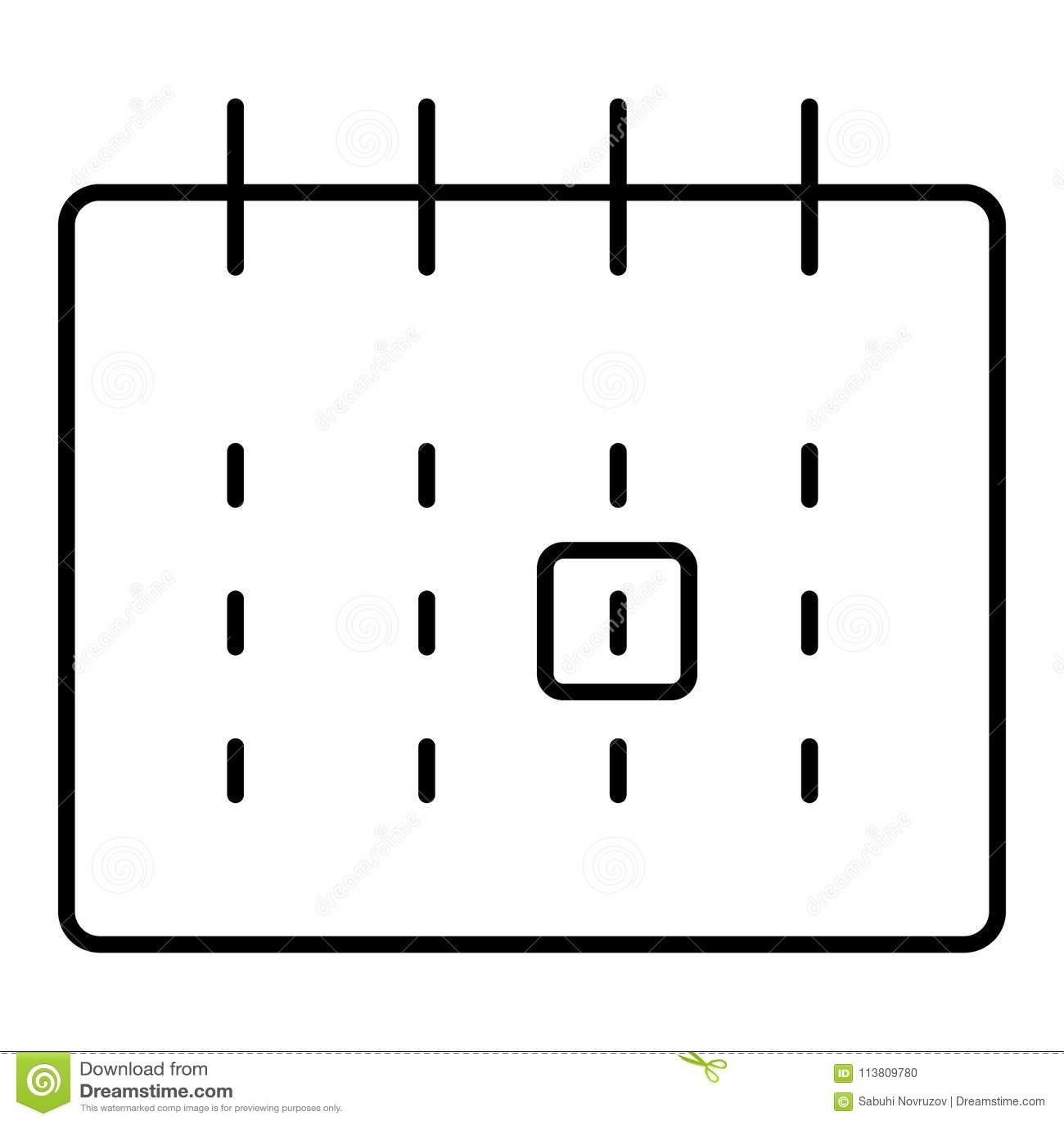 Calendario Per Sito Web.Icona Di Vettore Descritta Calendario Mensile Segno Isolato