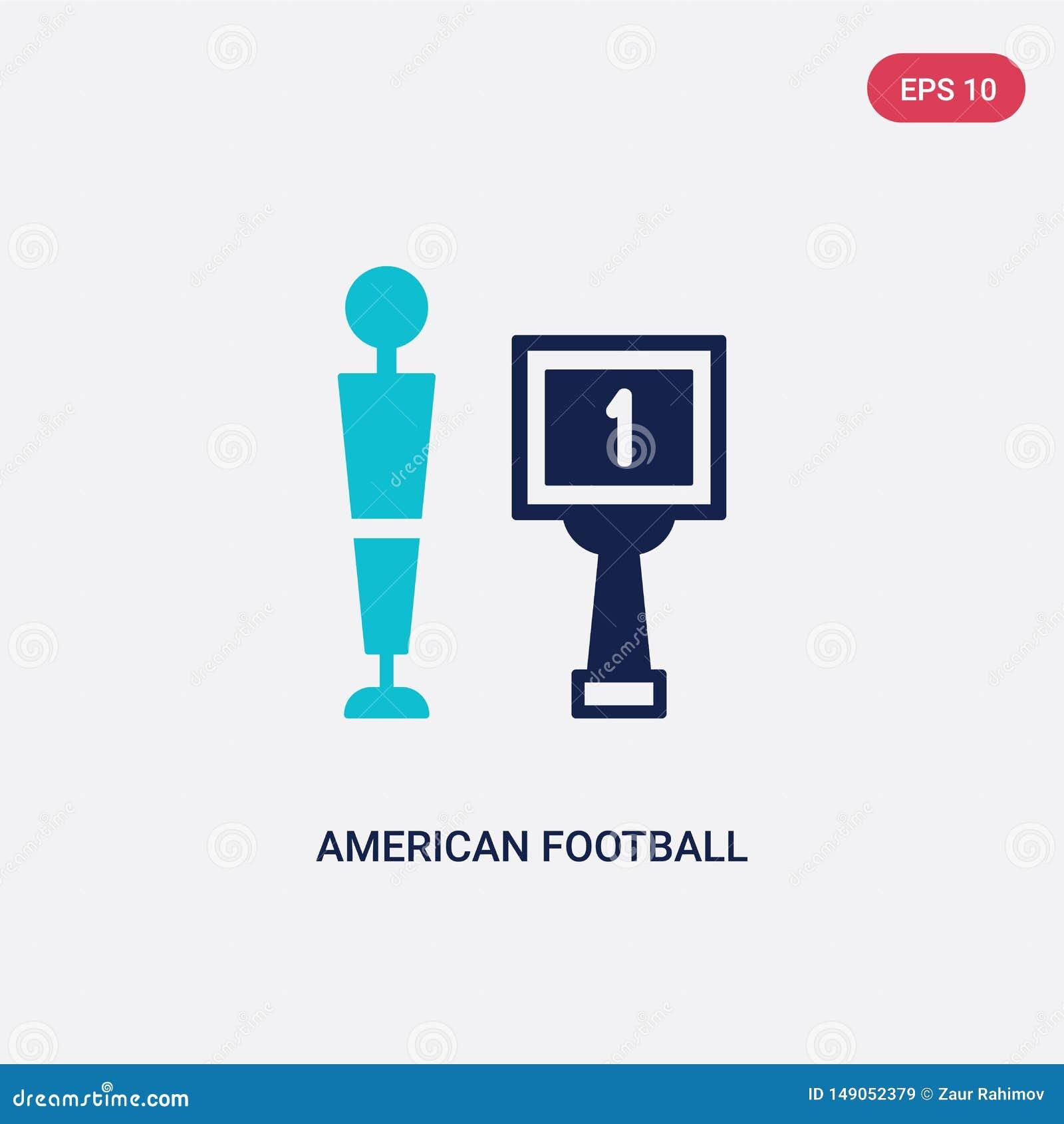 Icona di vettore di football americano di due colori dal concetto il simbolo blu isolato del segno di vettore di football america
