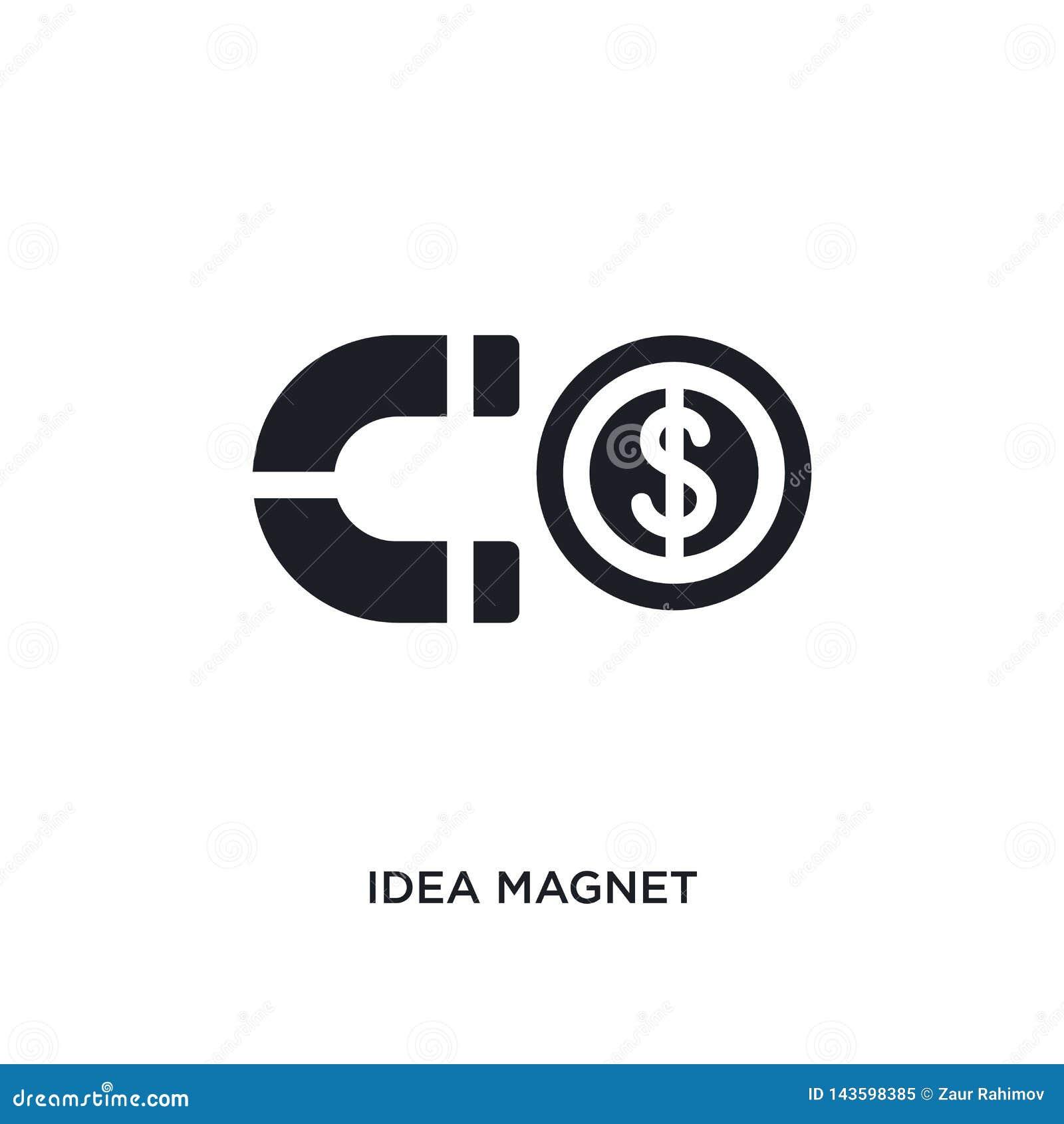 Icona di vettore isolata magnete nero di idea illustrazione semplice dell elemento dalla partenza stategy e dalle icone di vettor