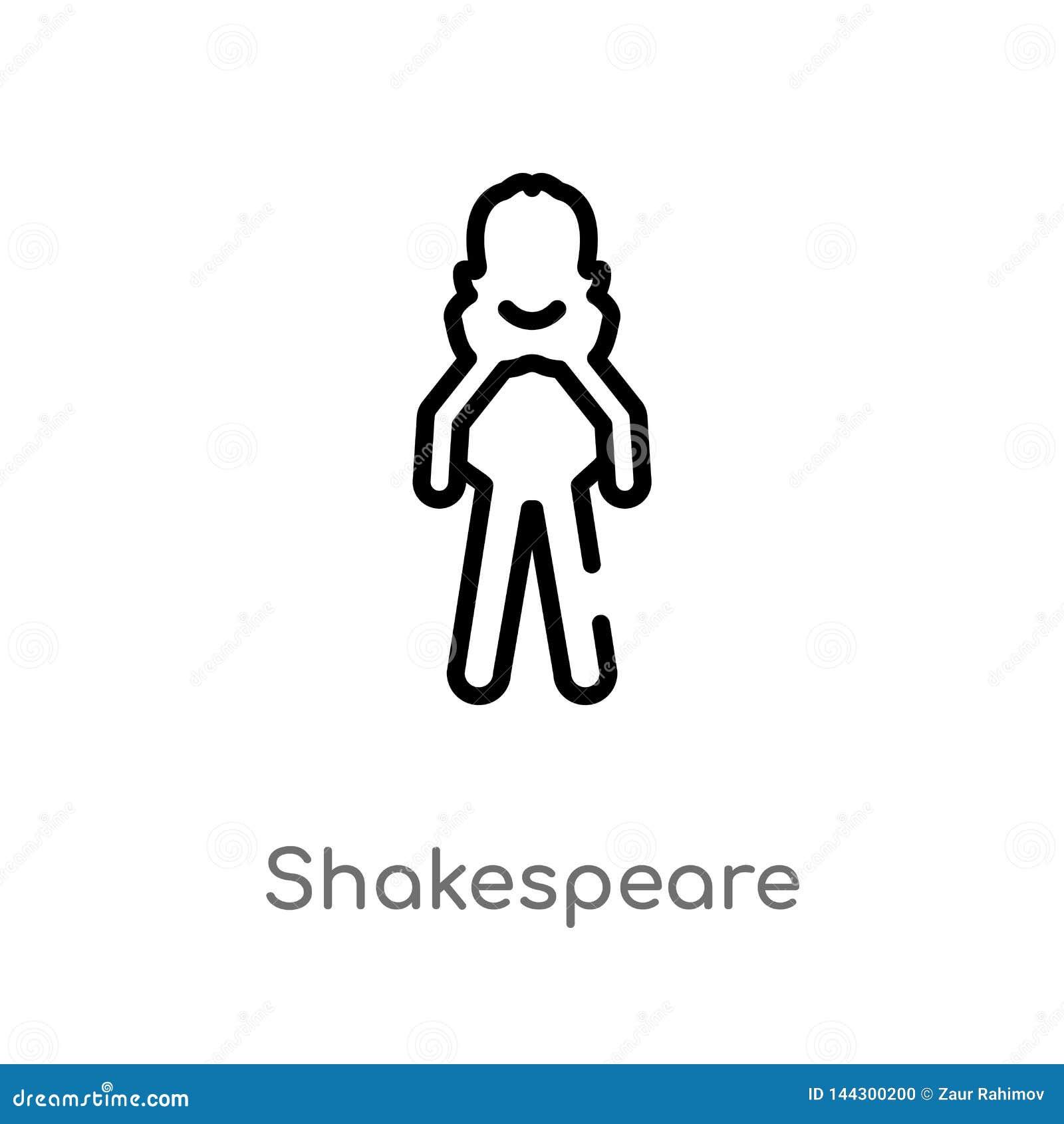 Icona di vettore di shakespeare del profilo linea semplice nera isolata illustrazione dell elemento dal concetto della letteratur
