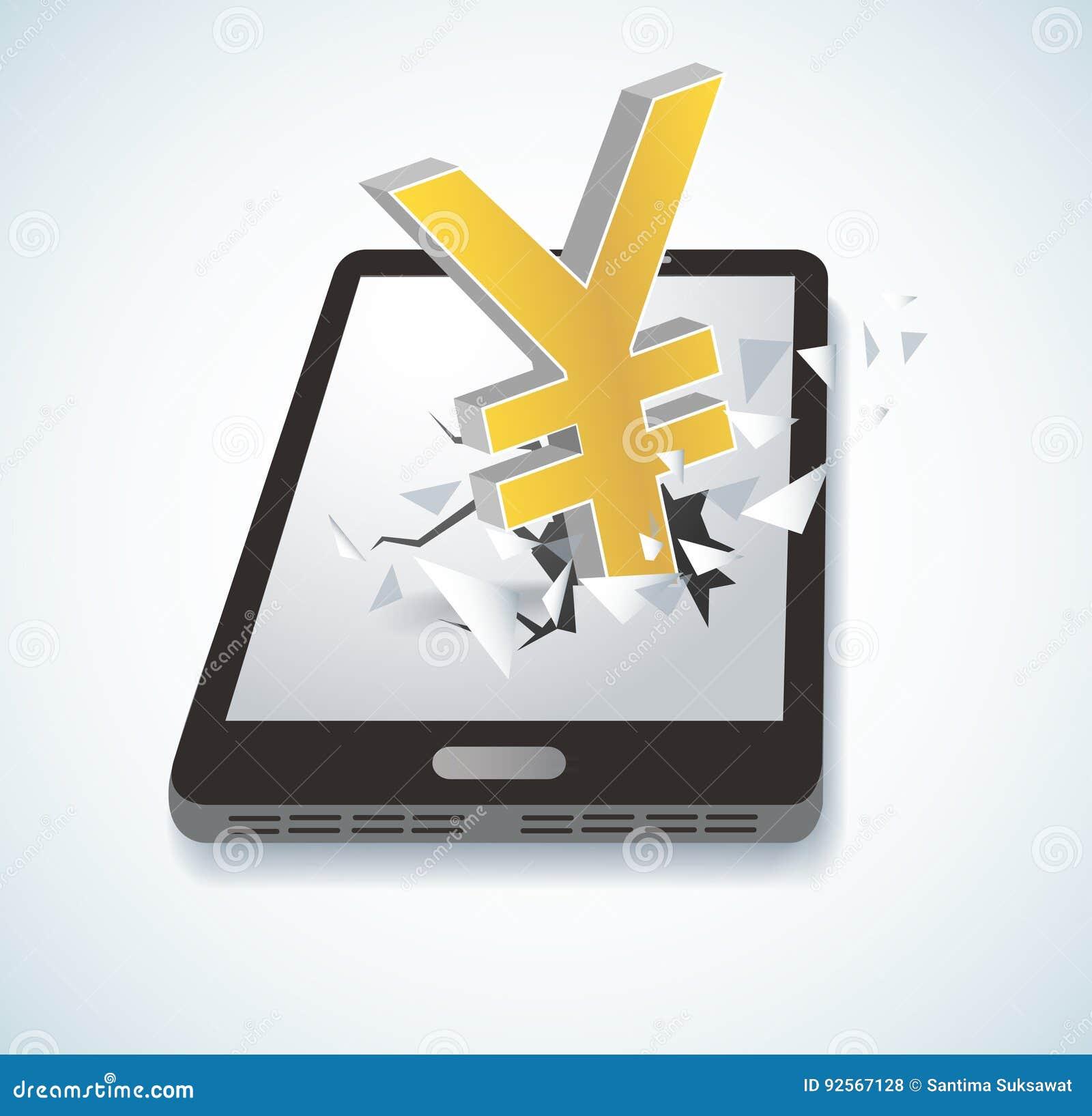Icona di Yen Dollar che attraversa il vettore dello smartphone dello schermo