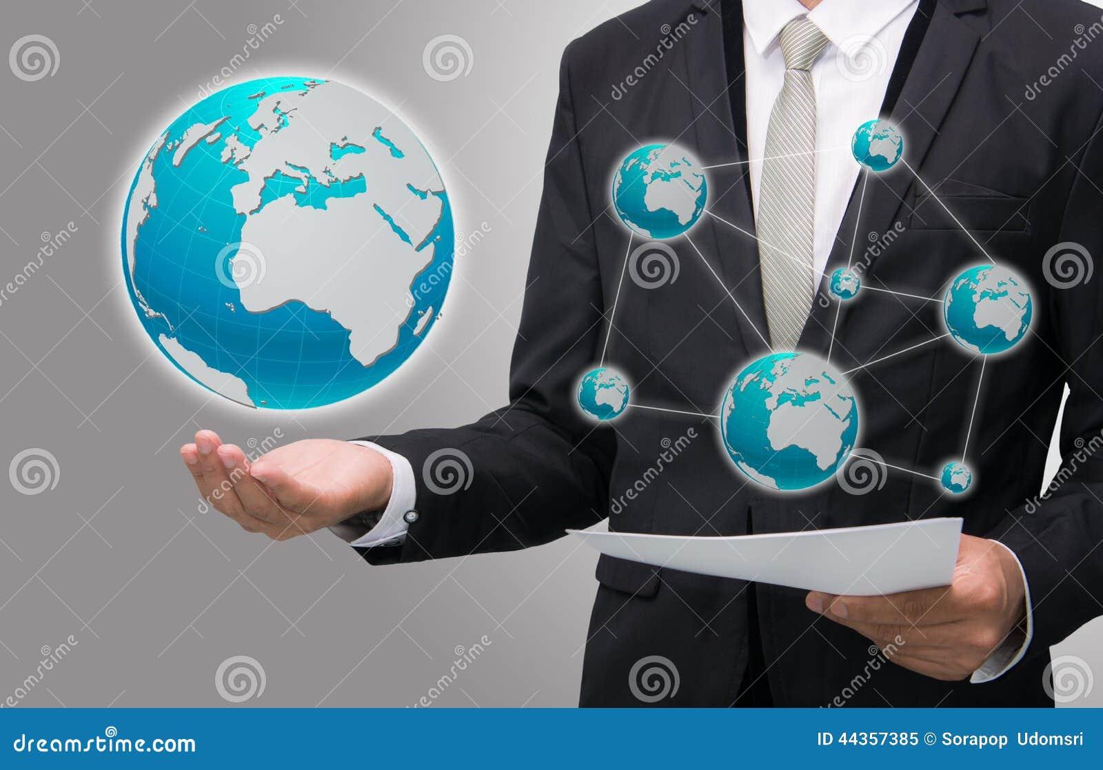 Icona diritta della terra della tenuta della mano di posizione dell uomo d affari