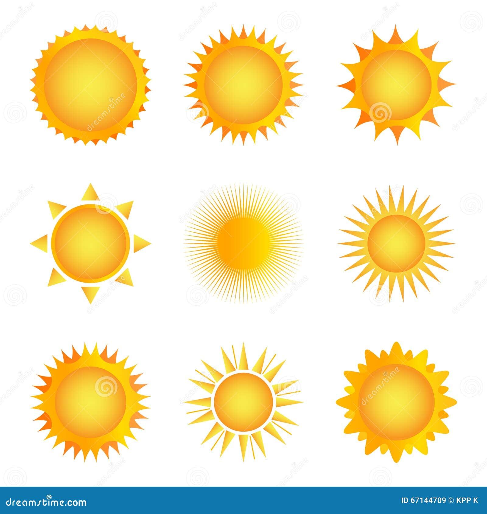 Icona dorata del sole su un fondo bianco Illustrazione di vettore