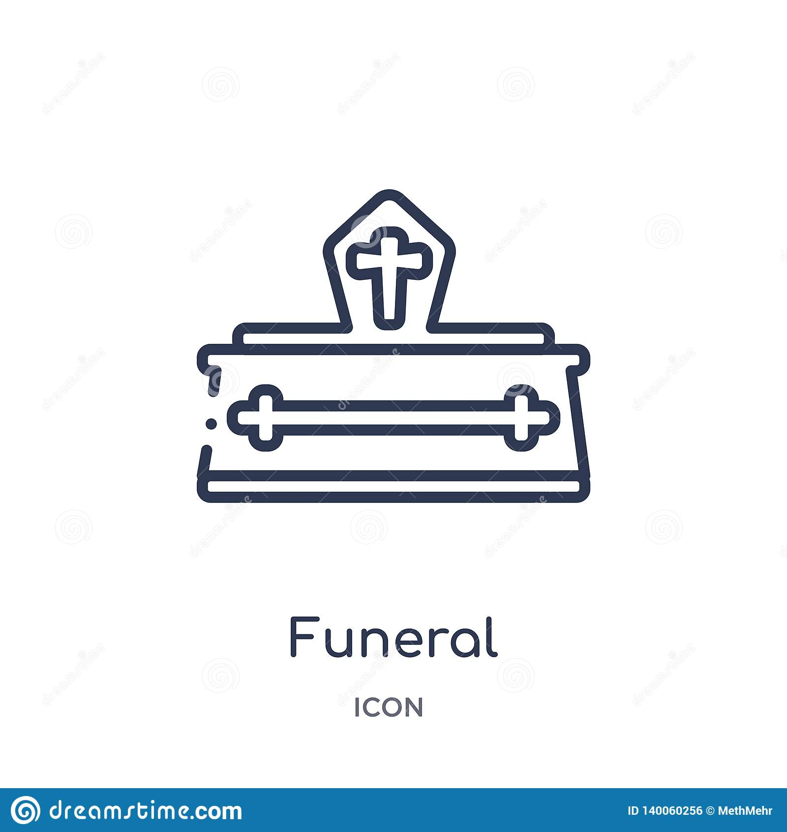 Icona funerea lineare dalla raccolta del profilo di assicurazione Linea sottile icona funerea isolata su fondo bianco funerale d