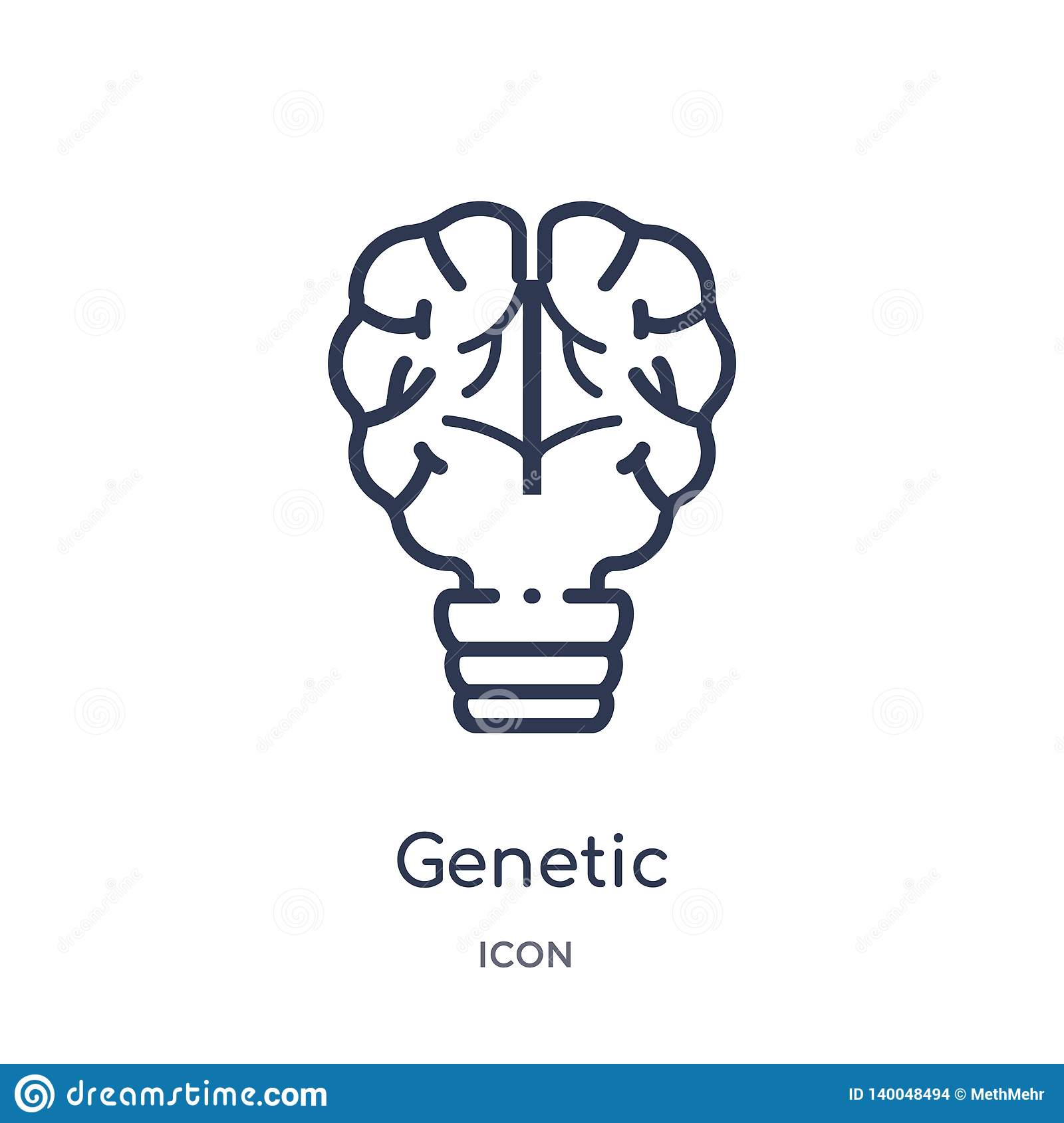 Icona genetica lineare di modifica dal intellegence artificiale e dalla raccolta futura del profilo di tecnologia Linea sottile g