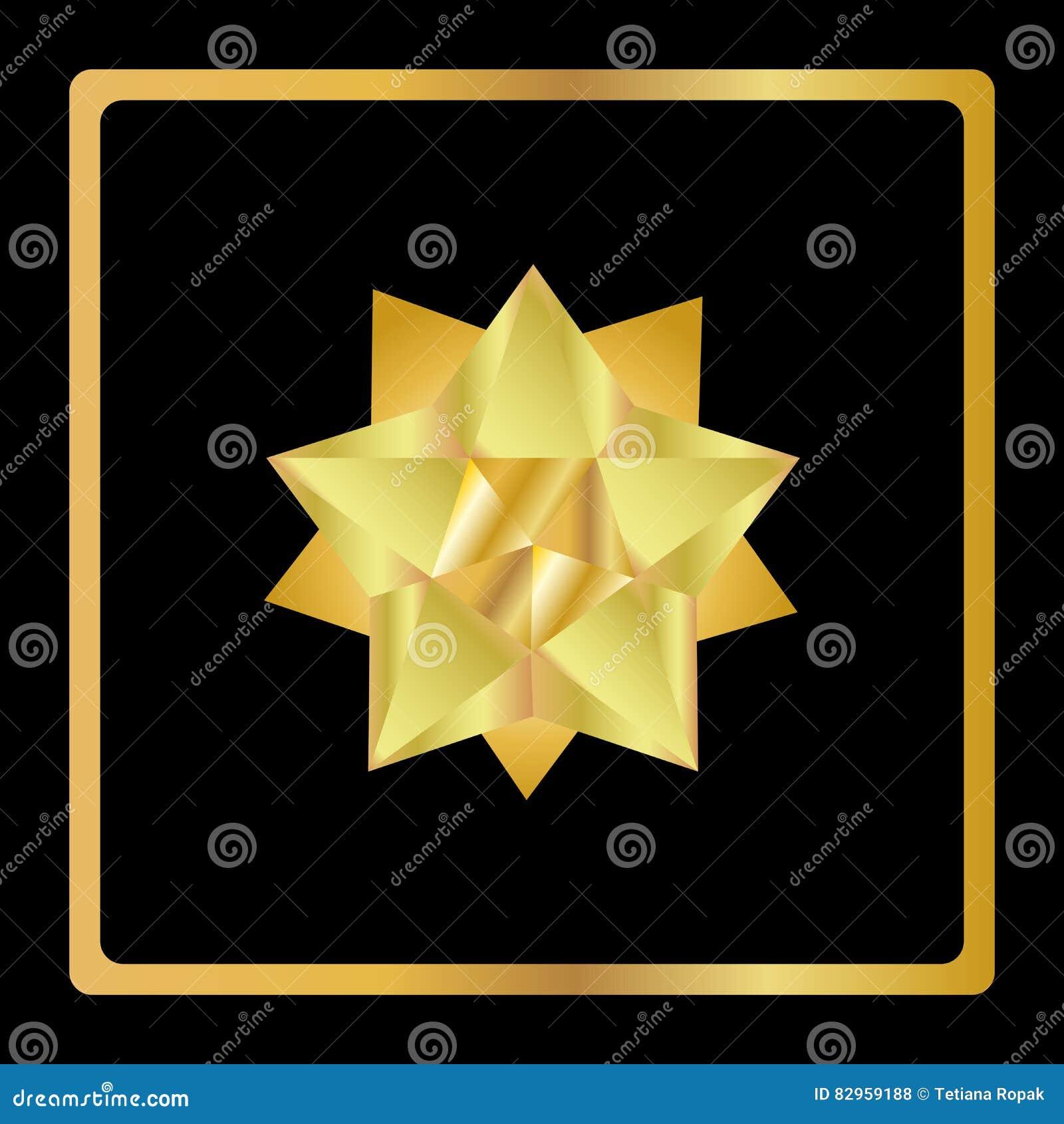 Icona geometrica 3d della stella dorata stile moderno for Stile moderno della prateria