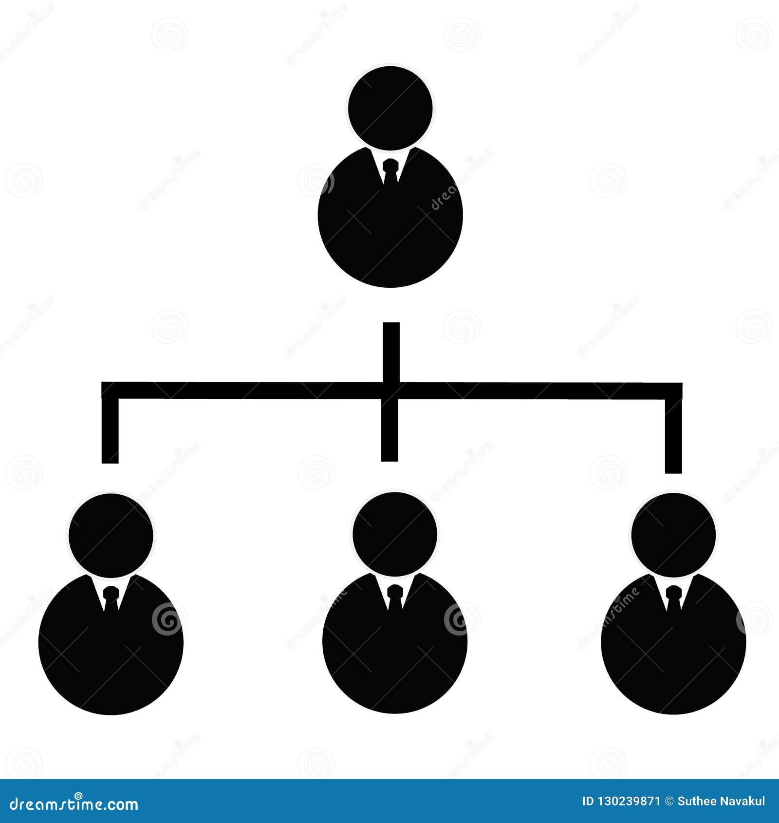 Icona gerarchica di affari su fondo trasparente affare h