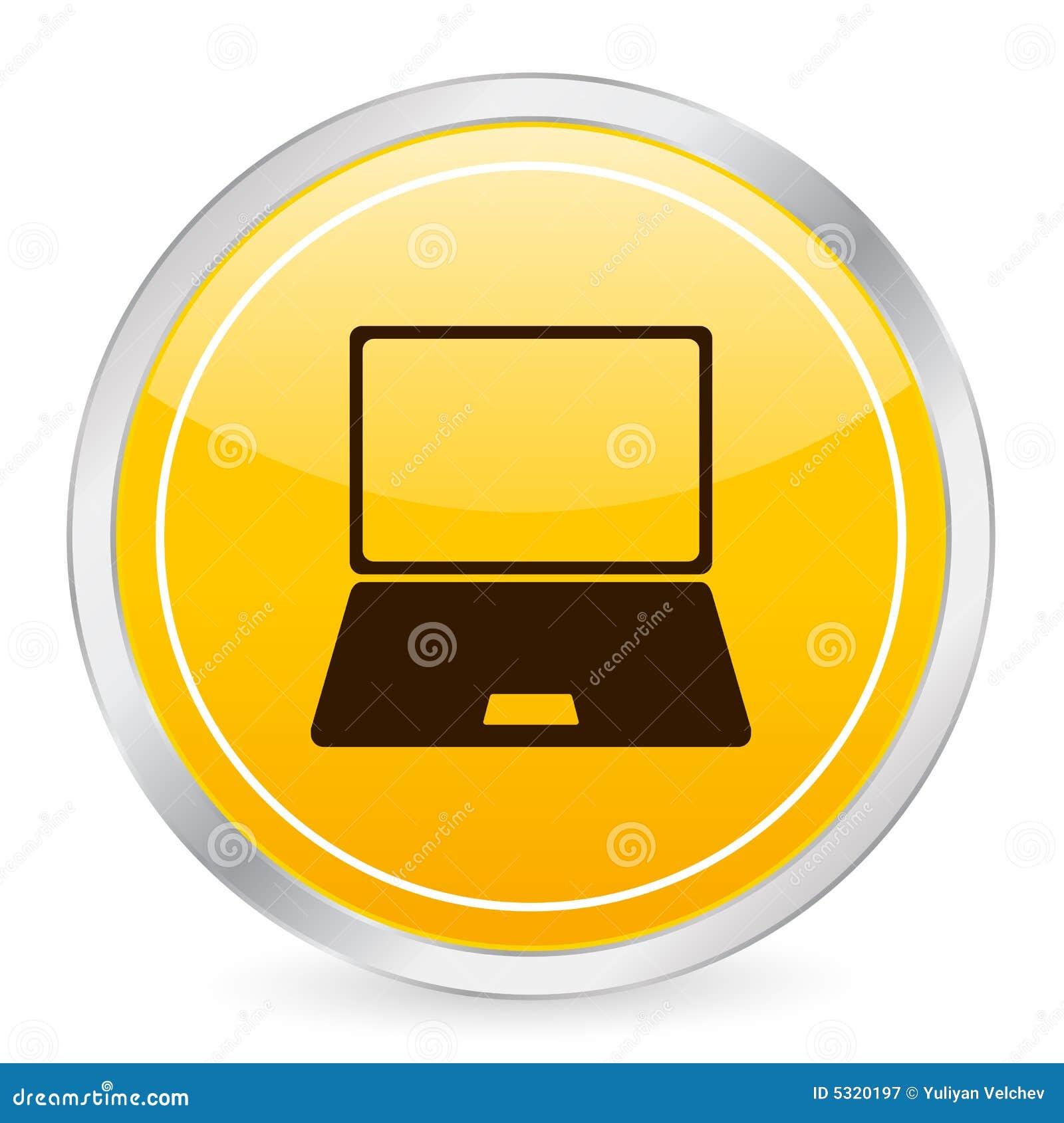 Download Icona Gialla Del Cerchio Del Computer Portatile Illustrazione Vettoriale - Illustrazione di scatto, figura: 5320197