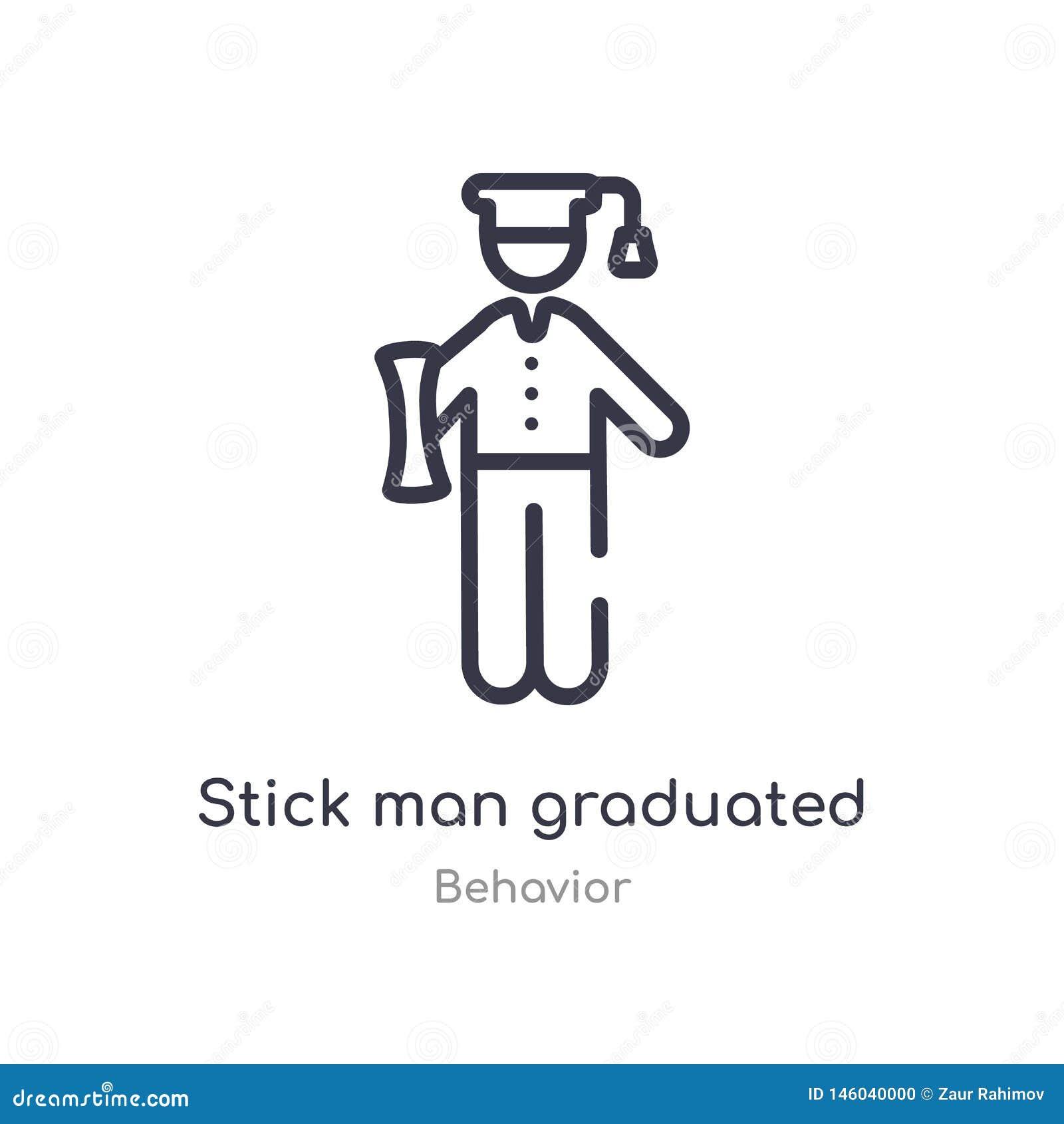 Icona graduata del profilo dell uomo del bastone linea isolata illustrazione di vettore dalla raccolta di comportamento uomo sott
