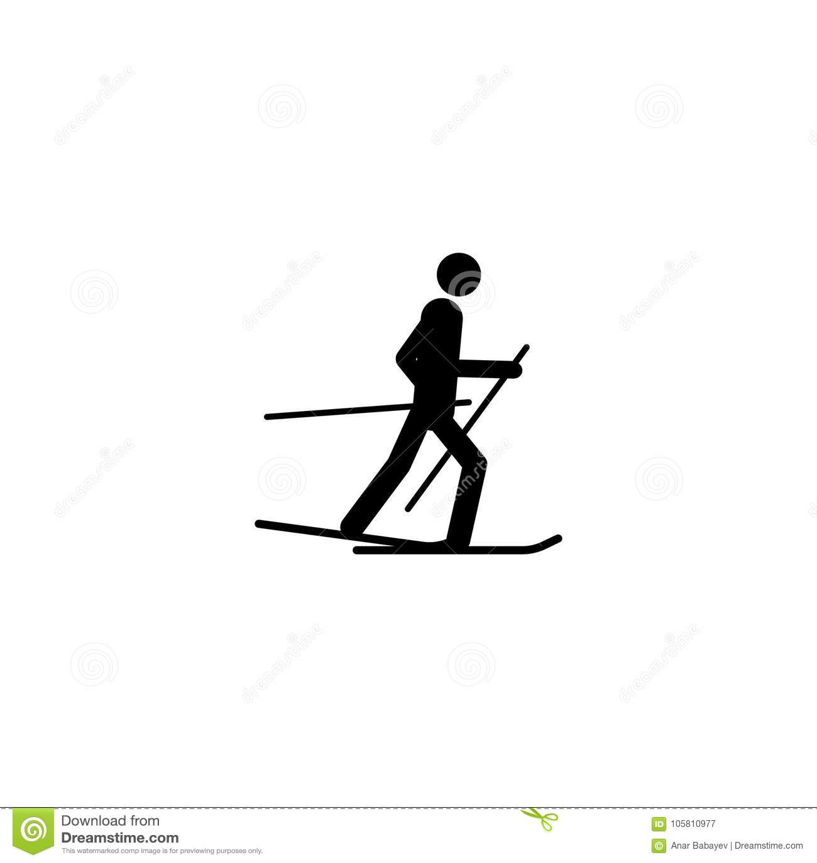 Icona isolata atleta dello sciatore della siluetta Disciplina dei giochi degli sport invernali Illustrazione in bianco e nero di